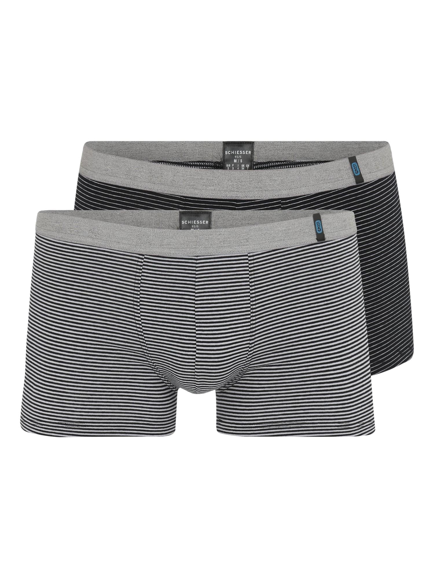 SCHIESSER Boxerky 'Hip-Shorts (2er-Pack)'  sivá / čierna