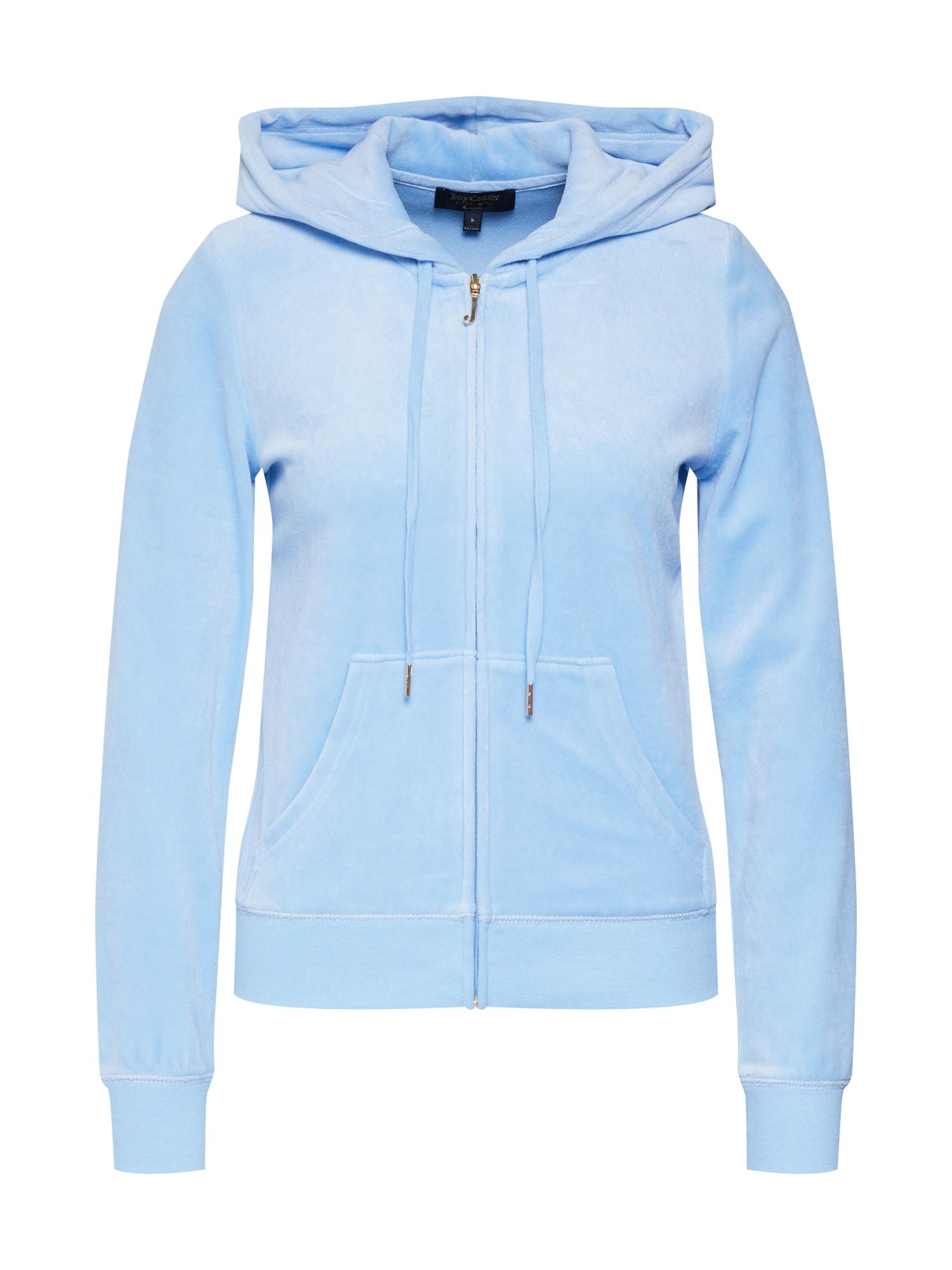 Mikina s kapucí JUICY CAMEO VELOUR ROBERTSON JACKET modrá Juicy Couture Black Label