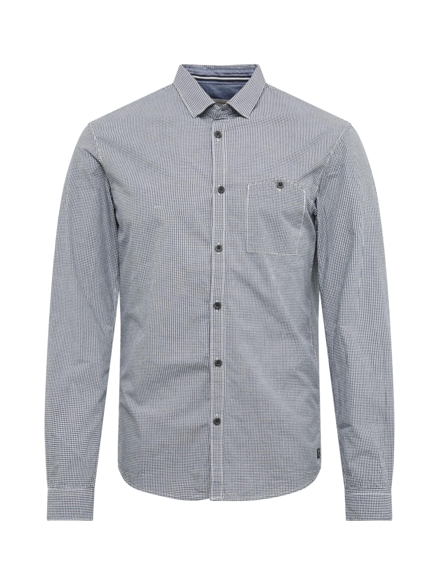 TOM TAILOR DENIM Biznis košeľa 'mini vichy shirt'  biela / námornícka modrá