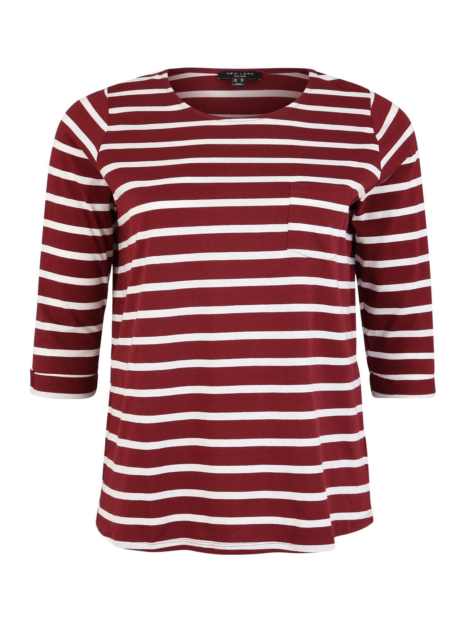 Tričko BRETON SLOUCHY tmavě červená bílá New Look Curves