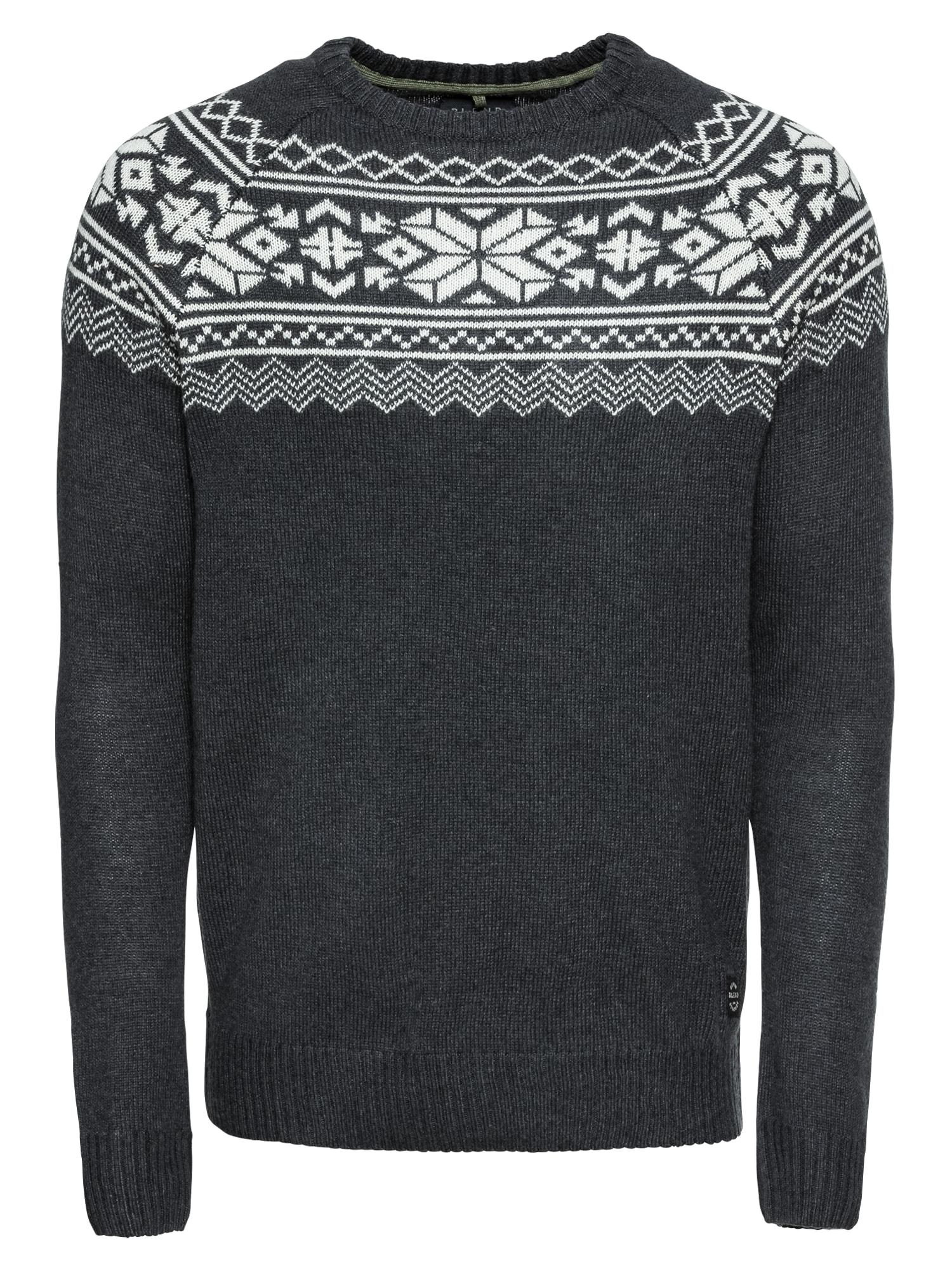 BLEND Megztinis bazalto pilka / balta