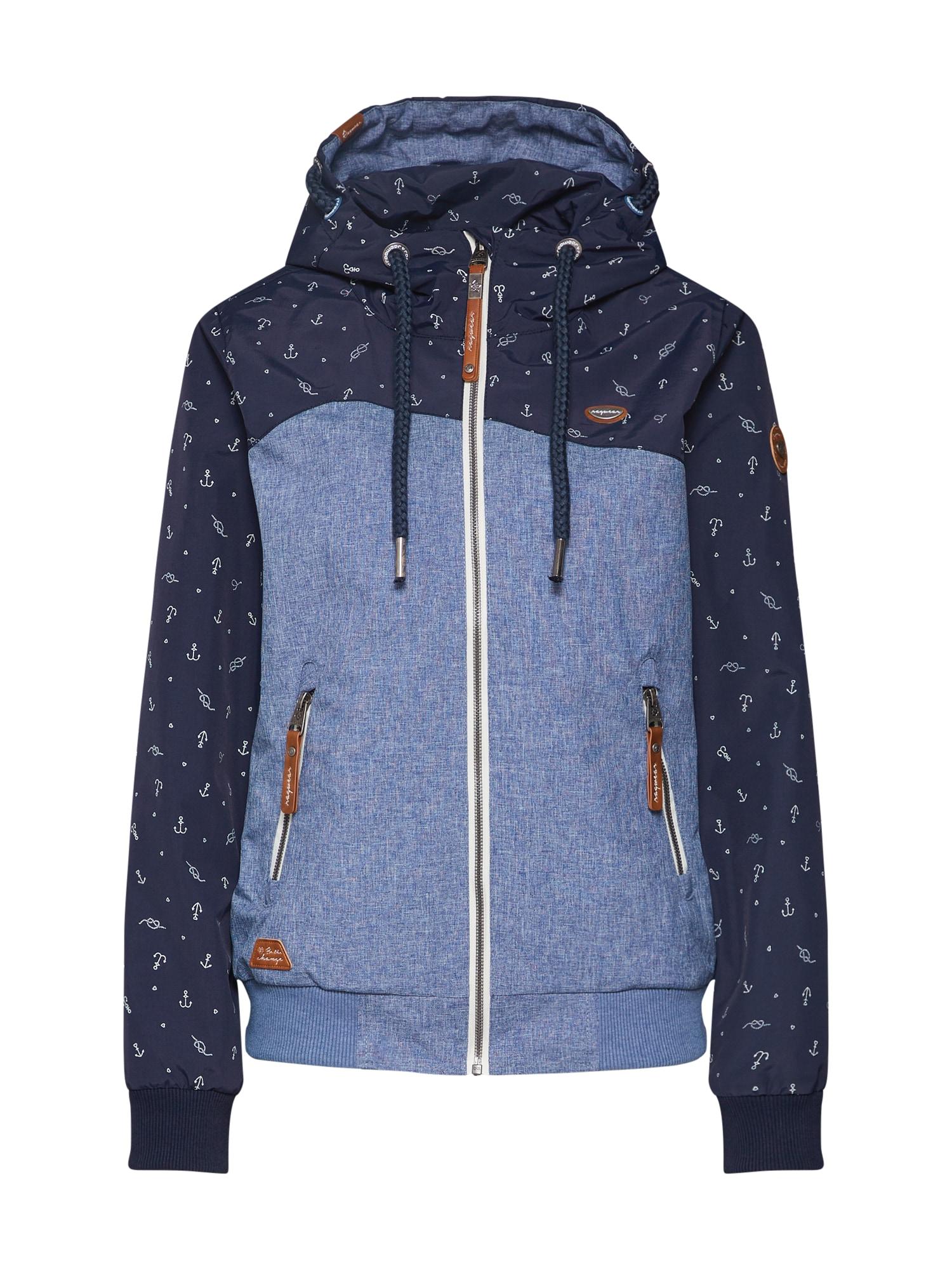 Přechodná bunda Nuggie B námořnická modř modrá džínovina bílá Ragwear