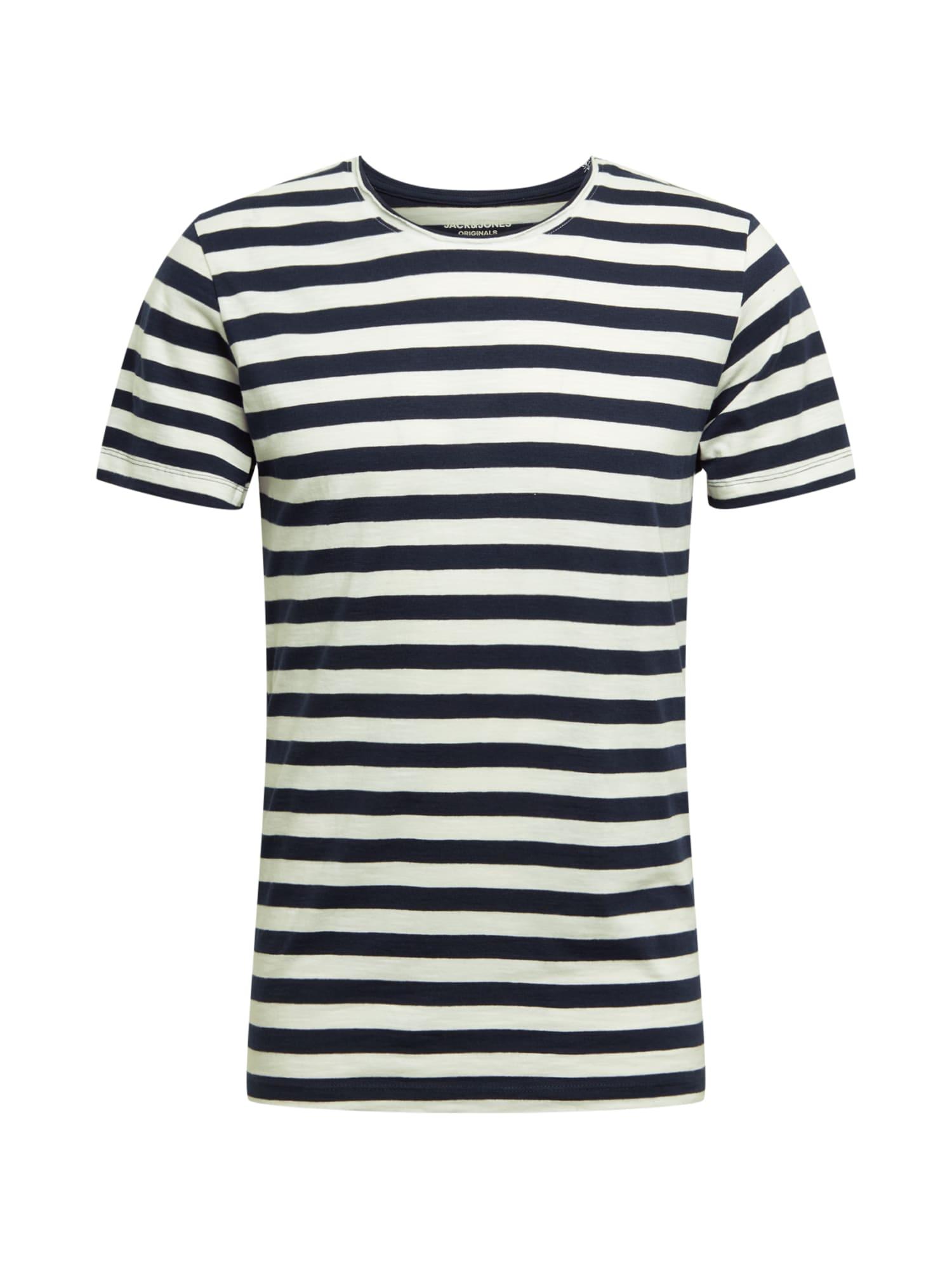 JACK & JONES Marškinėliai balta / nakties mėlyna
