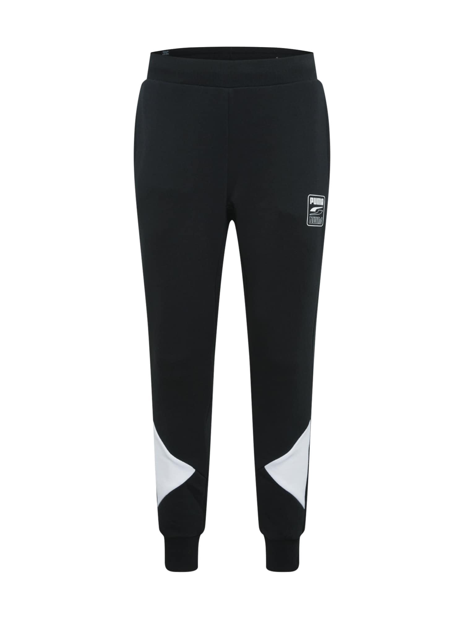 PUMA Športové nohavice 'Rebel'  biela / čierna