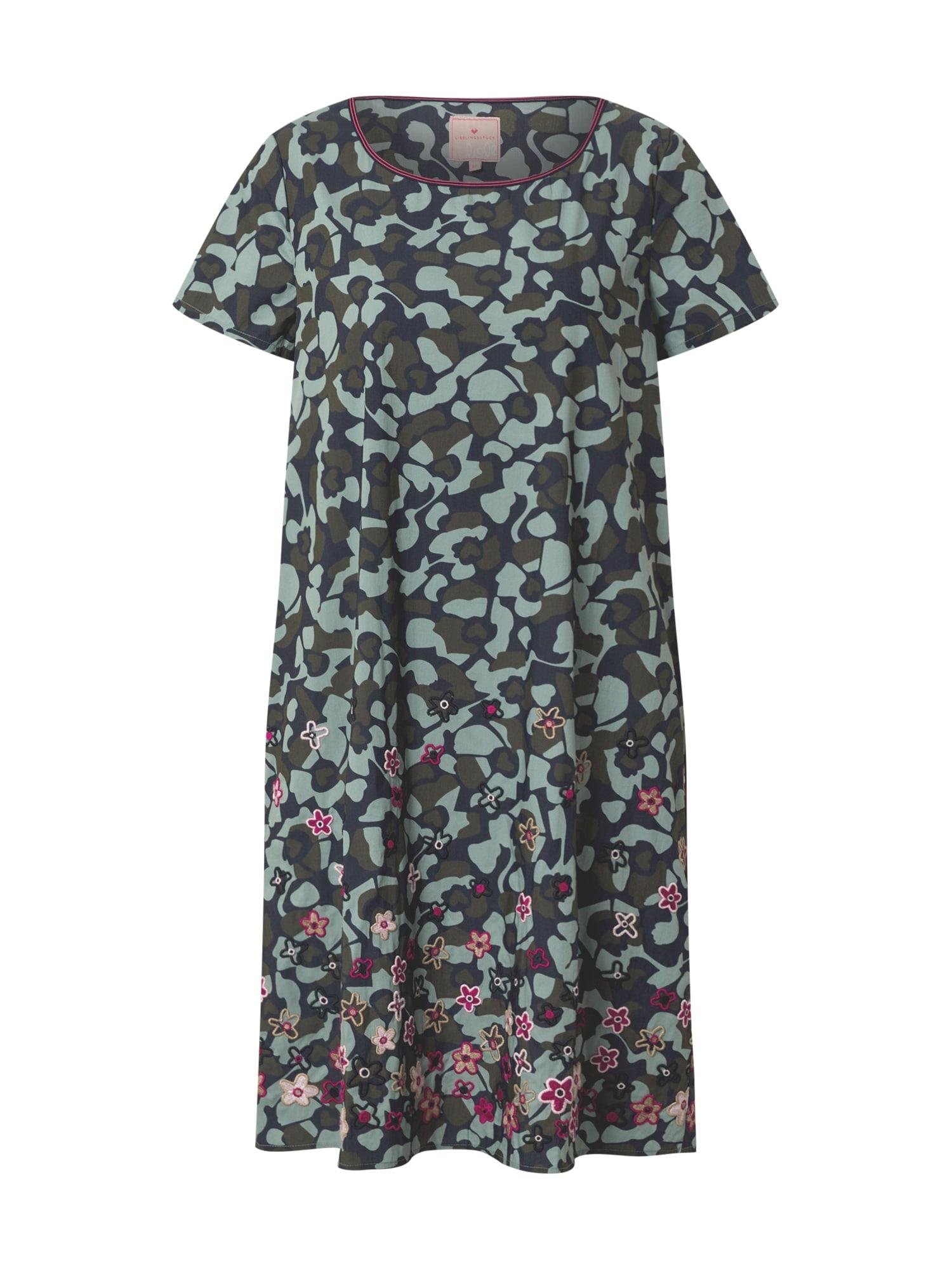 LIEBLINGSSTÜCK Suknelė tamsiai mėlyna / mėtų spalva / rusvai žalia