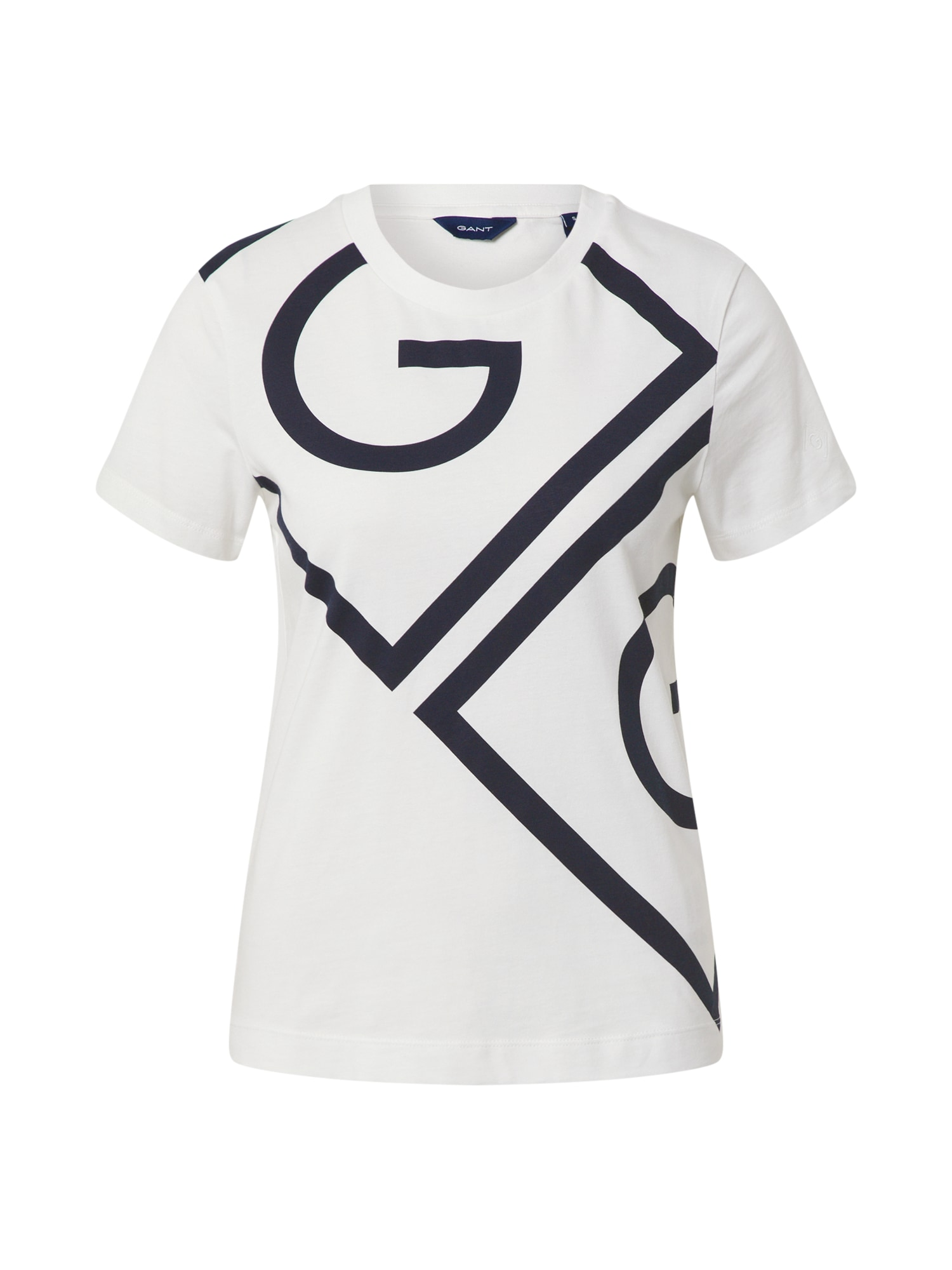 GANT Marškinėliai balta / nakties mėlyna