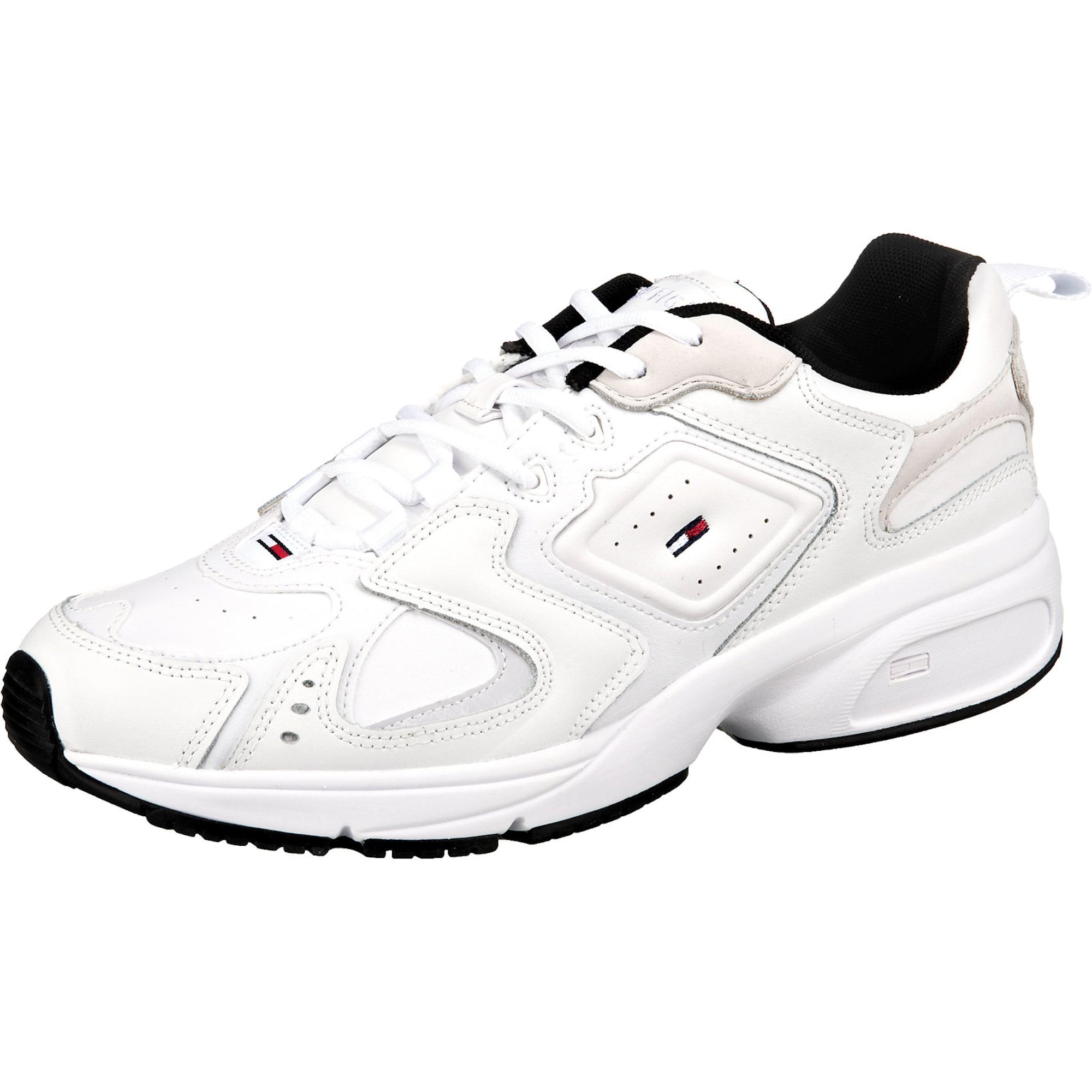 Tommy Jeans Rövid szárú edzőcipők 'Heritage'  fehér / fekete