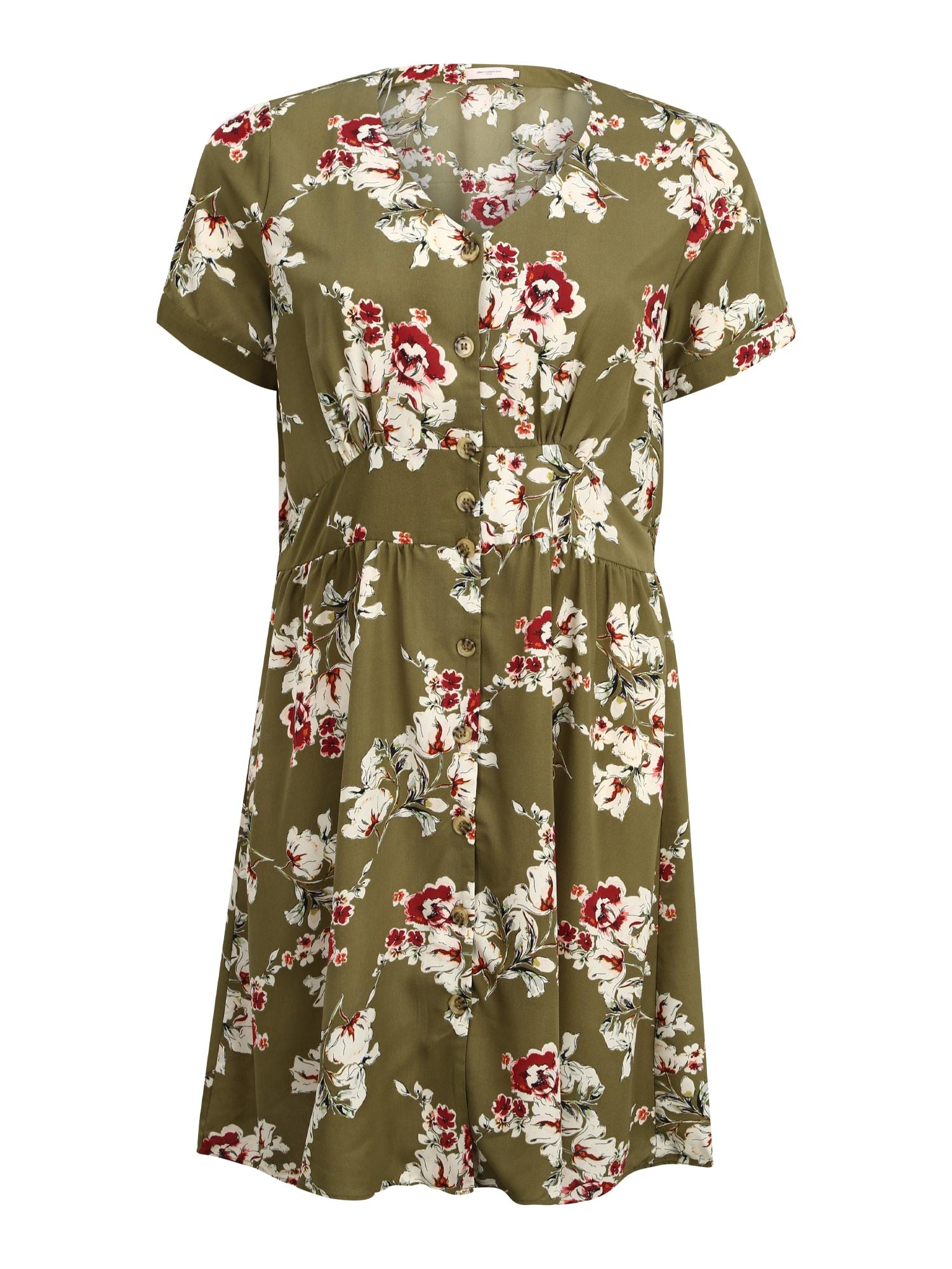 ONLY Carmakoma Letné šaty 'CARONA'  olivová / tmavo červené / krémová