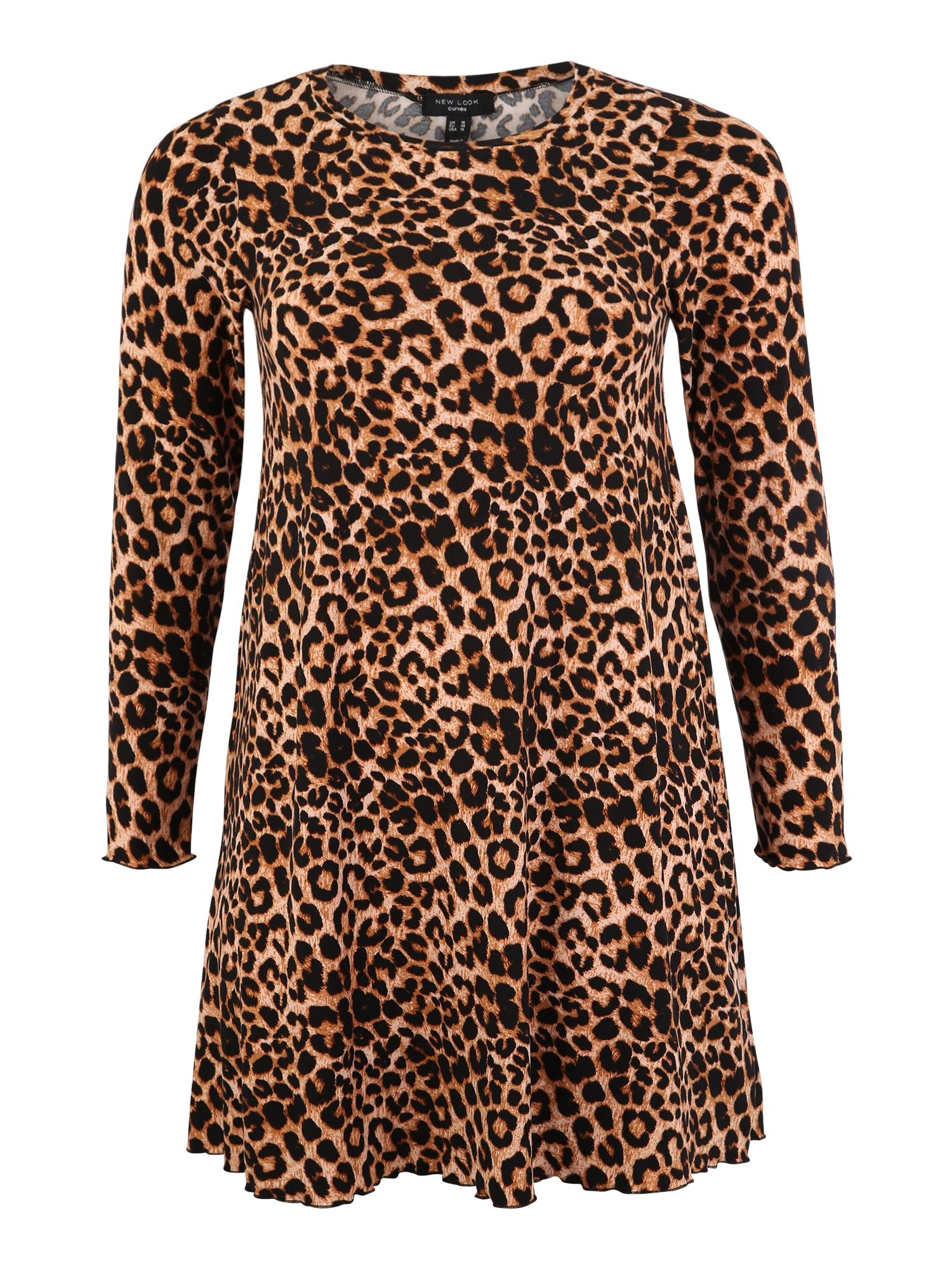 Šaty Leopard Soft Touch hnědá žlutá New Look Curves