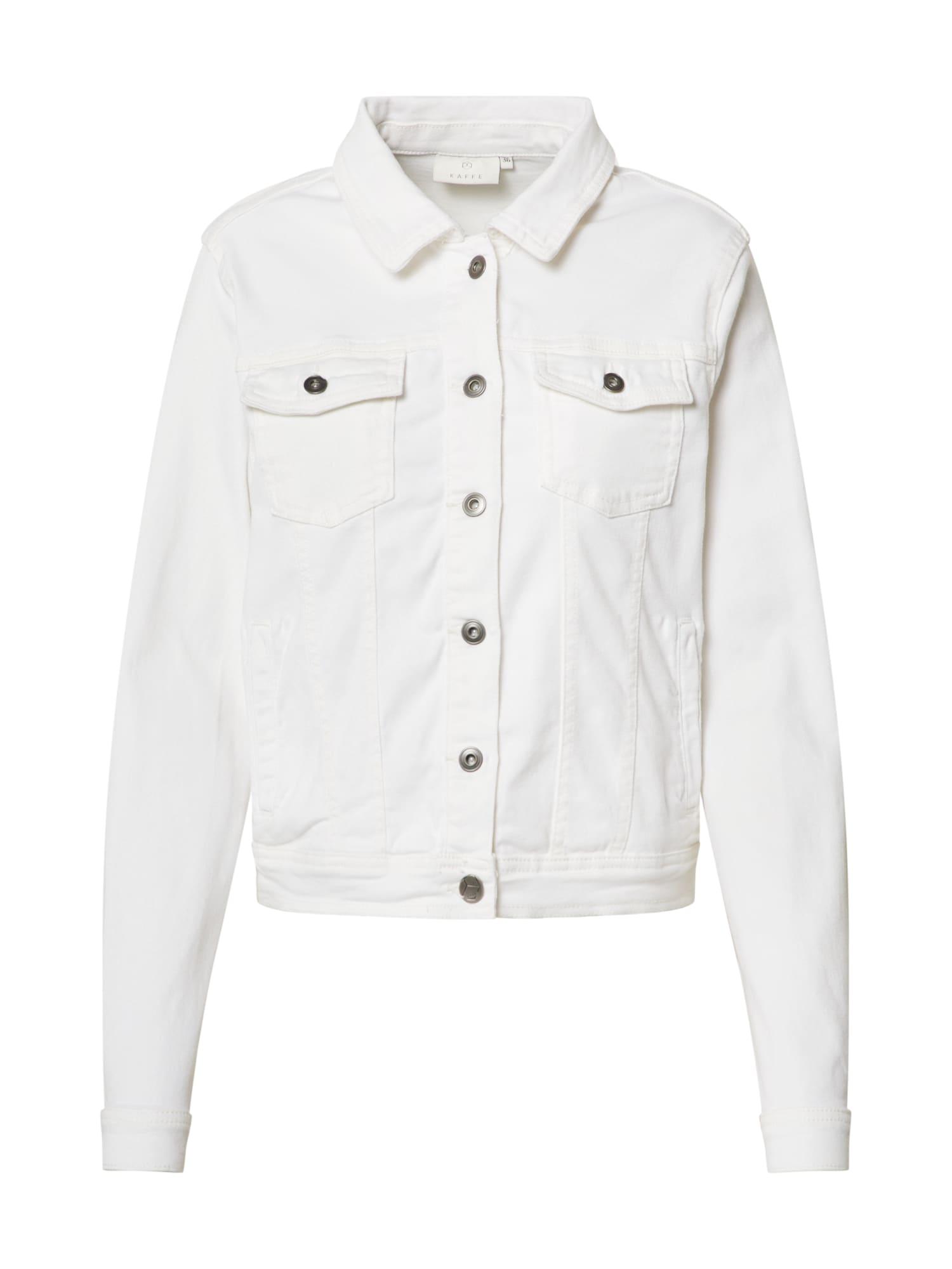 Kaffe Demisezoninė striukė 'KAviolet Jeans Jacket' balto džinso spalva / vilnos balta