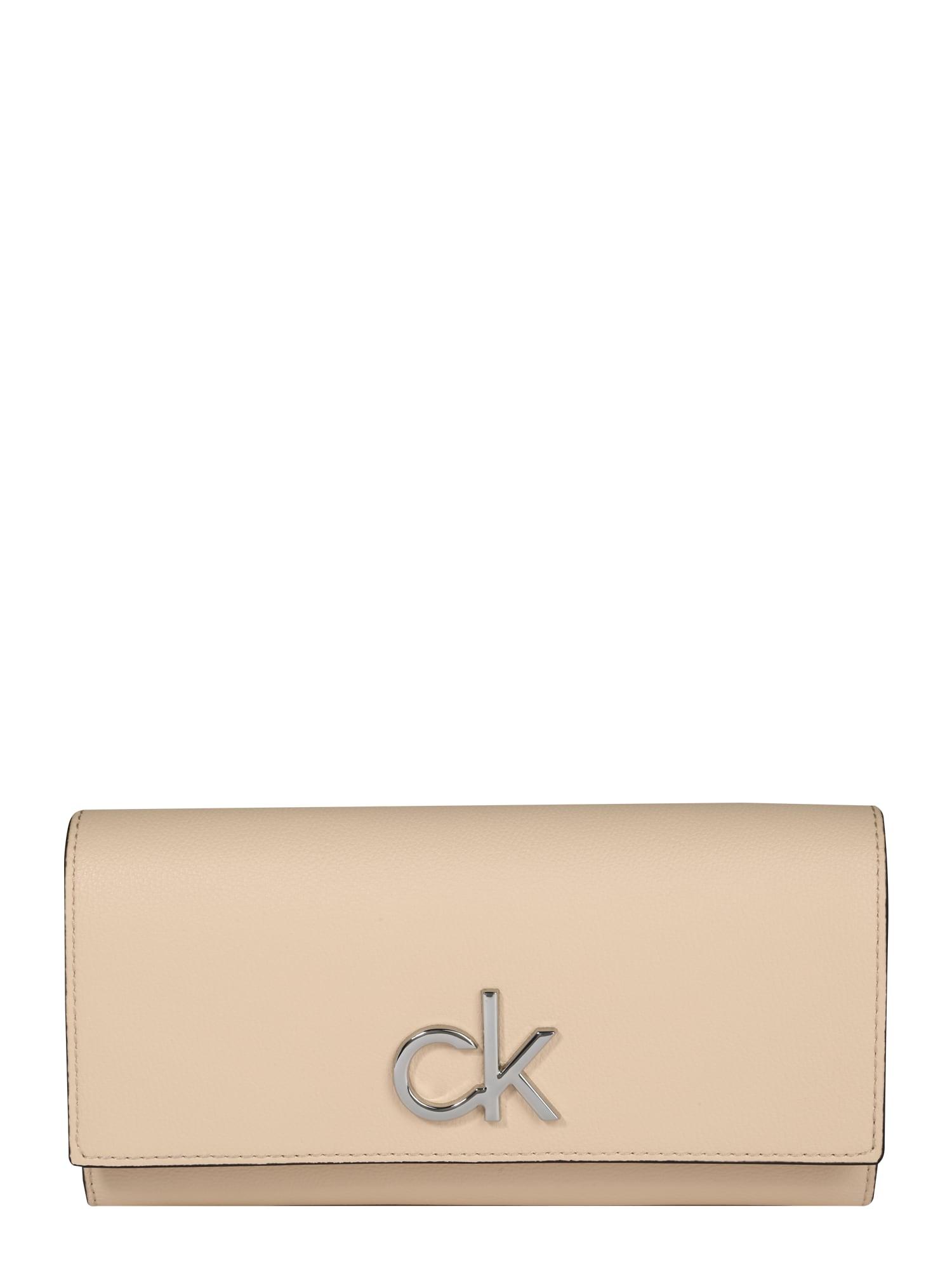 Calvin Klein Piniginė 'RE-LOCK TRIFOLD LG' smėlio