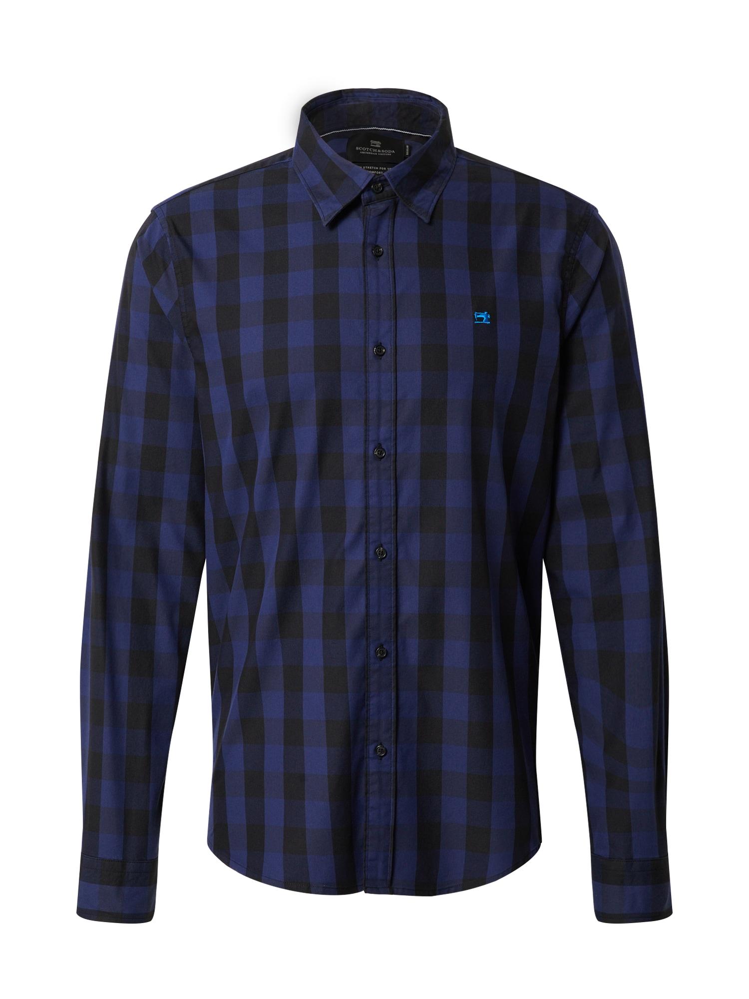 SCOTCH & SODA Marškiniai mėlyna / juoda / margai pilka