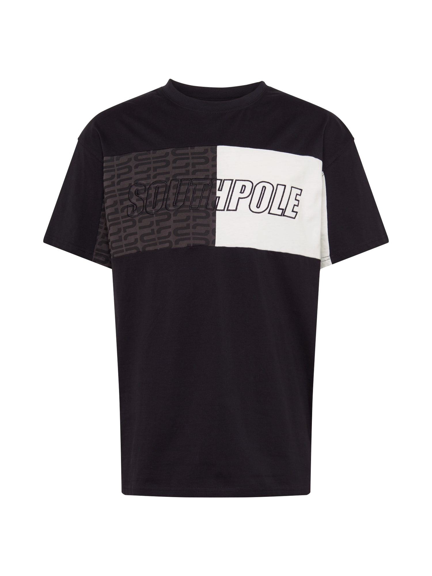 SOUTHPOLE Marškinėliai juoda / balta