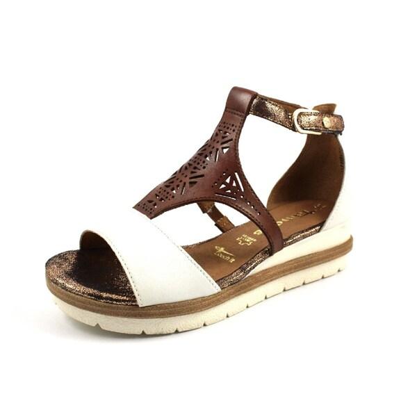 Sandalen für Frauen - TAMARIS Sandale dunkelbraun weiß  - Onlineshop ABOUT YOU