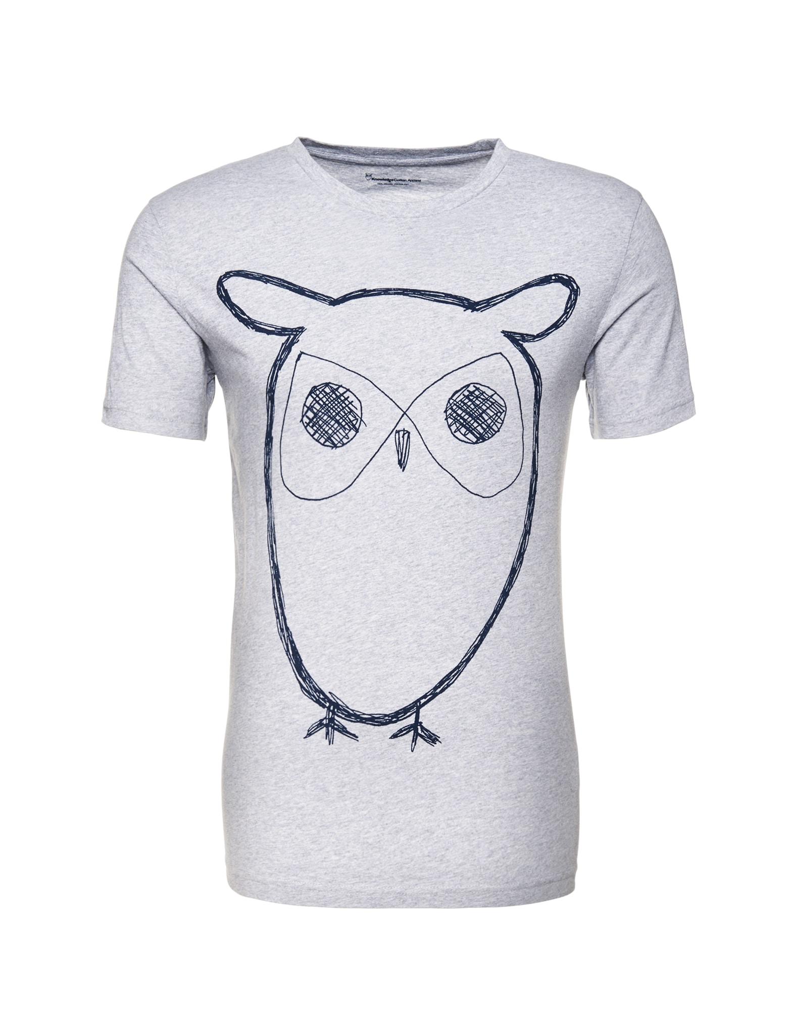 KnowledgeCotton Apparel Marškinėliai margai pilka