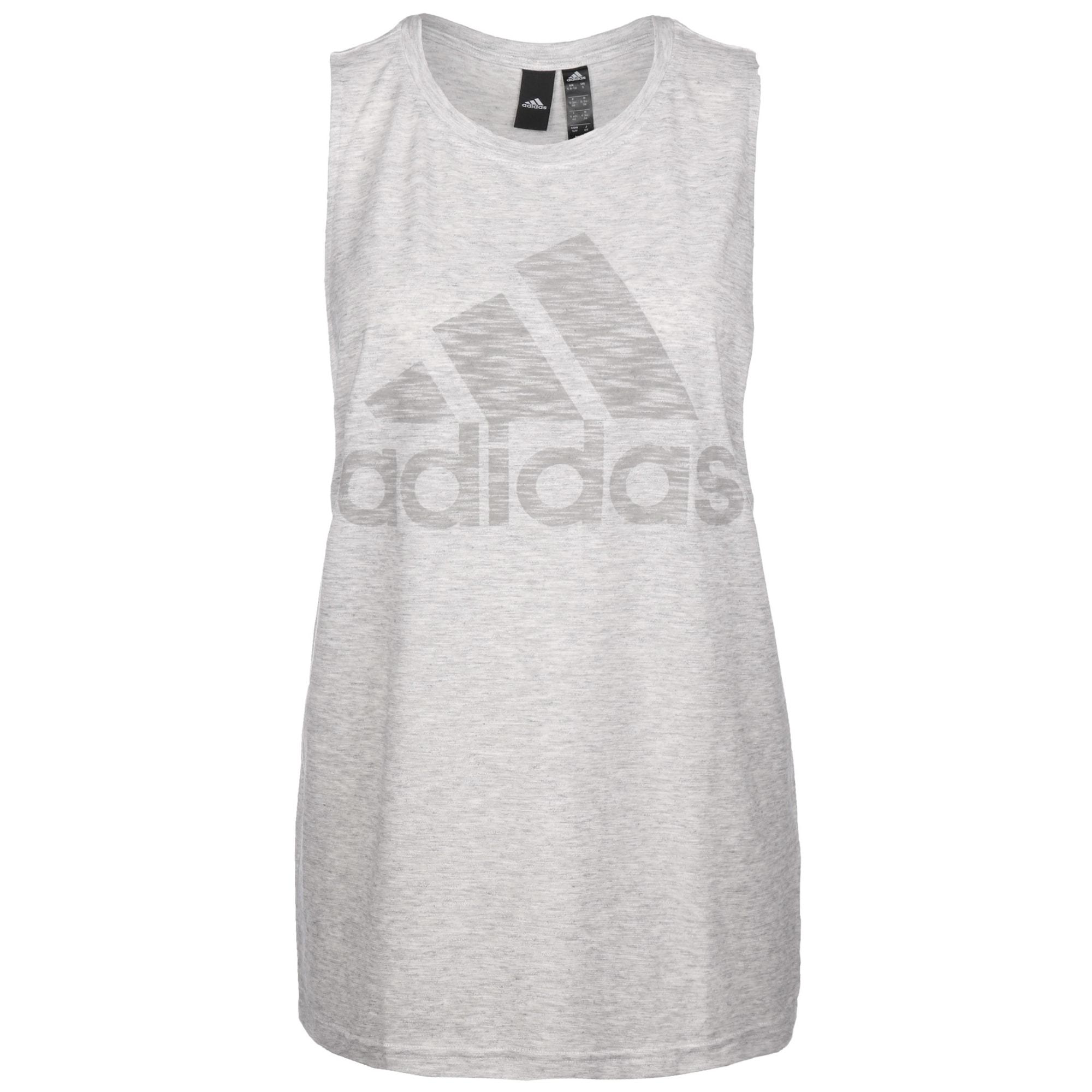 ADIDAS PERFORMANCE Sportiniai marškinėliai be rankovių pilka / balta