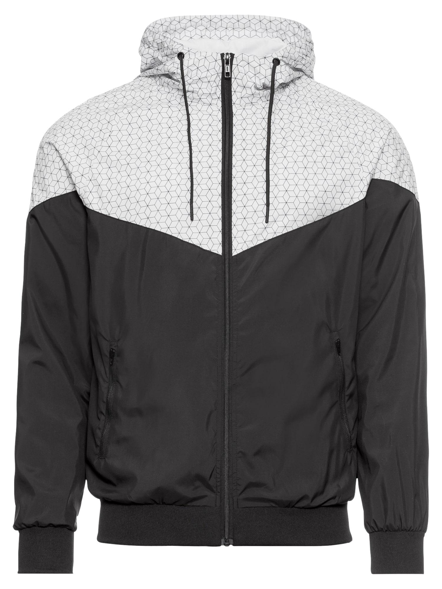 Urban Classics Prechodná bunda 'Pattern Arrow Windrunner'  biela / čierna