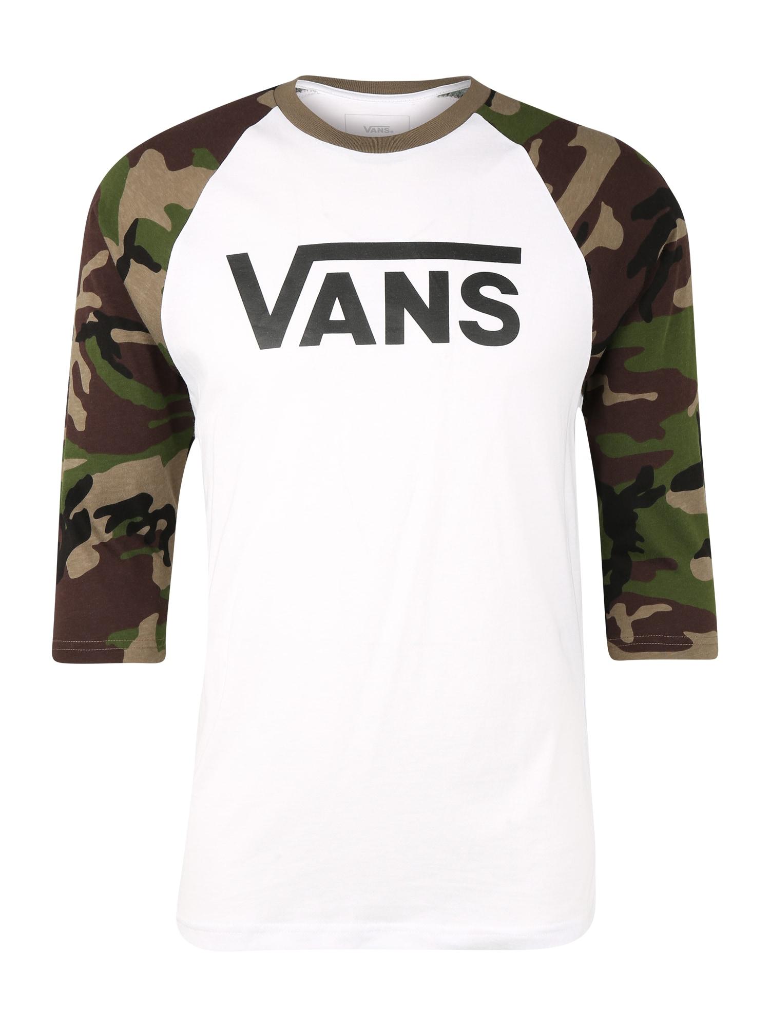 VANS Marškinėliai tamsiai žalia / balta