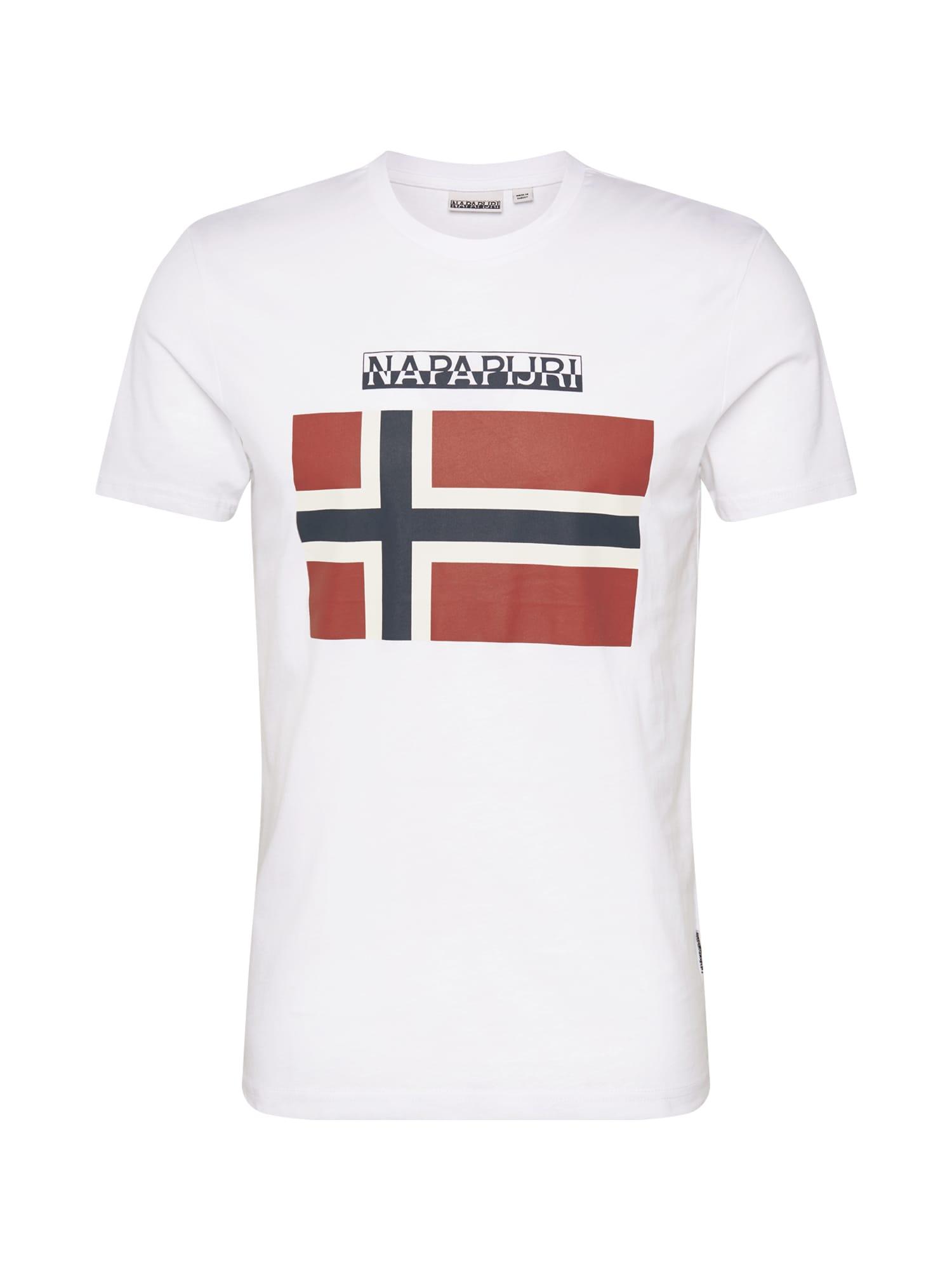 NAPAPIJRI Marškinėliai balta / tamsiai raudona / tamsiai mėlyna jūros spalva