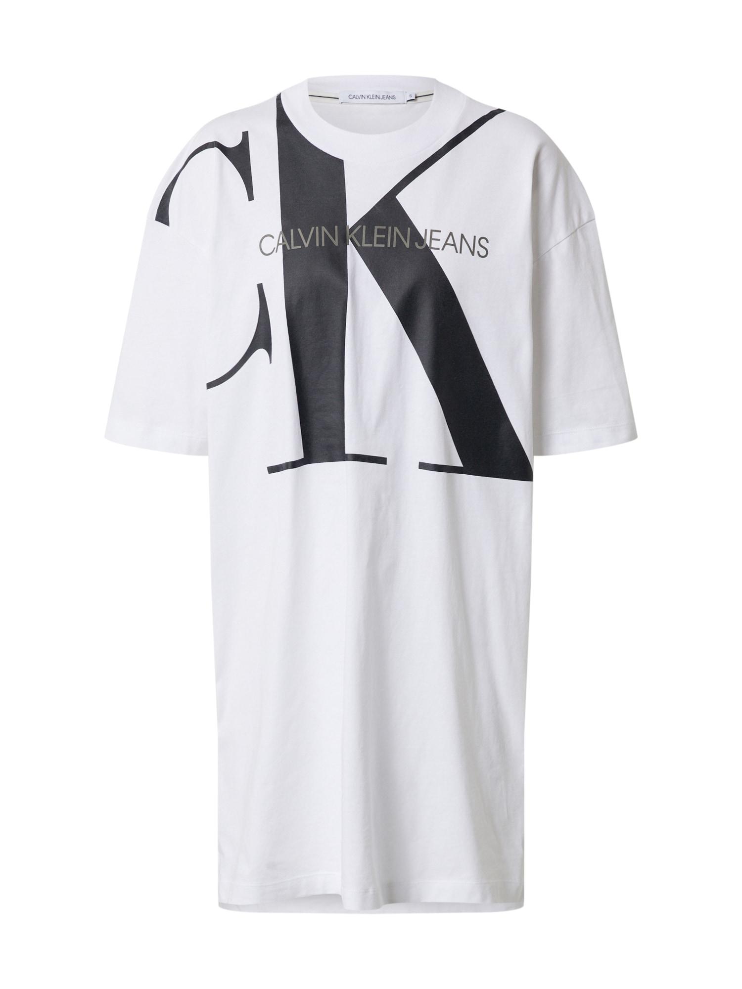 Calvin Klein Jeans Laisva suknelė 'T-Shirt' balta / juoda