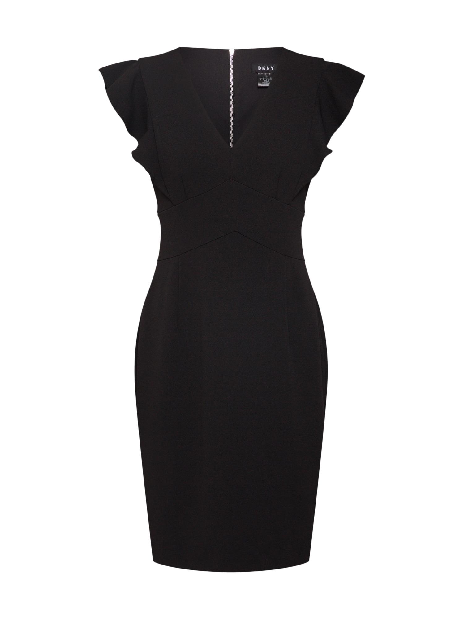 DKNY Šaty 'V-neck ruffle cap sleeve sheath'  čierna