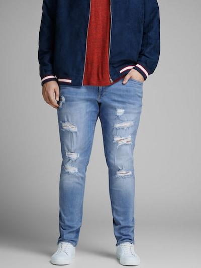 - Herren-Jeans in Plus Size - 5-Pocket-Stil - Hosenschlitz mit Knopfleiste - Schmale Hosenbeinsilhouette - Das Model trägt Größe 3XL und ist 189 cm groß - JACK & JONES Unsere Jeans und Chinos haben vorn einen speziellen Bundhöhenschnitt, der für einen guten Sitz gerade unterhalb der Bauchgegend sorgt. In Kombination mit einem schlanken Oberschenkelschnitt und einer schmalen Beinform ergibt sich so eine markante Silhouette mit großartiger Passform.