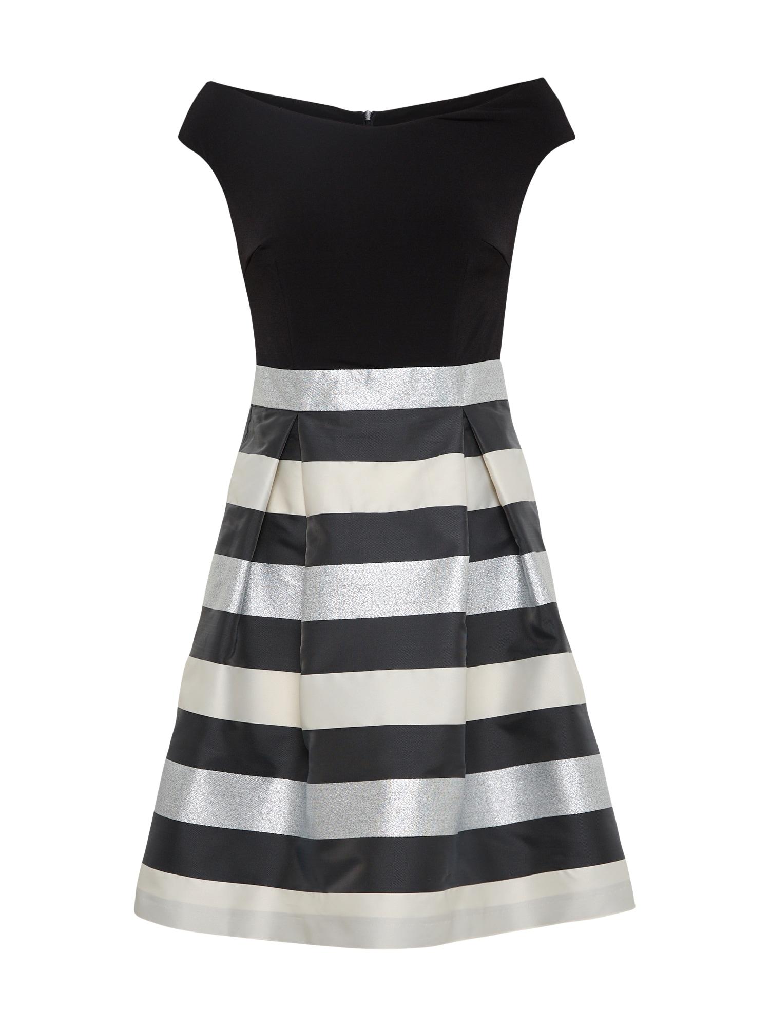 Koktejlové šaty stříbrně šedá černá SWING
