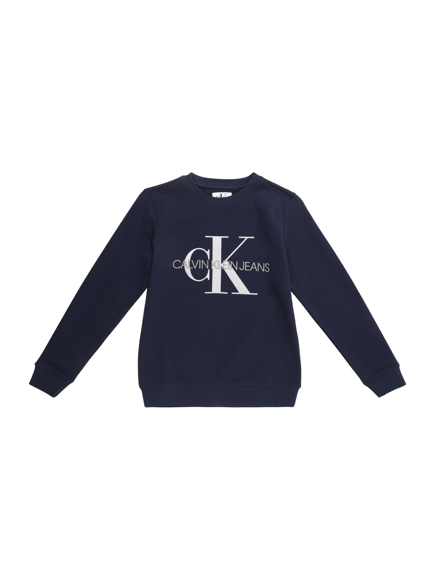 Calvin Klein Jeans Megztinis be užsegimo balta / tamsiai mėlyna