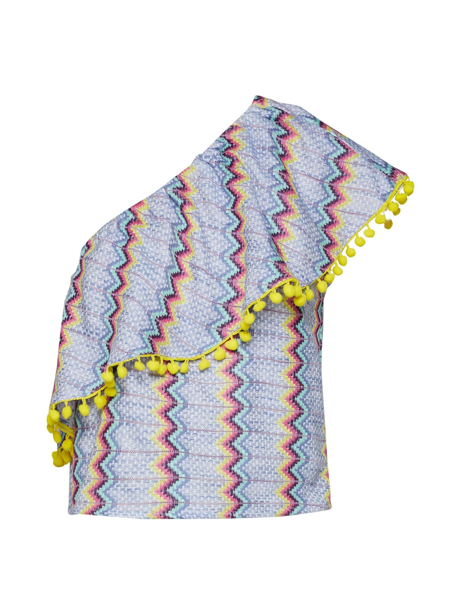 GLAMOROUS Palaidinė be rankovių 'IN1055' šviesiai mėlyna / geltona / šviesiai violetinė