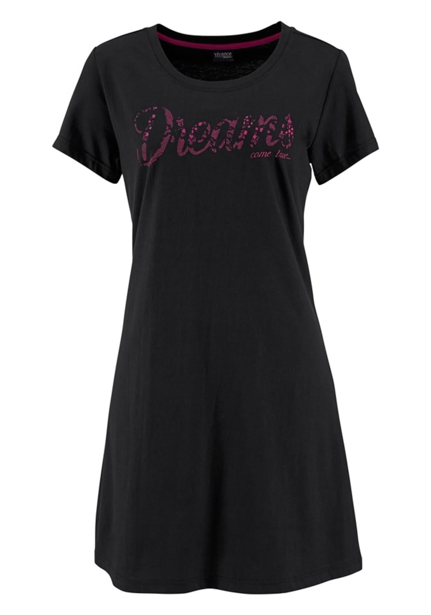VIVANCE Tričko na spaní  pink / černá
