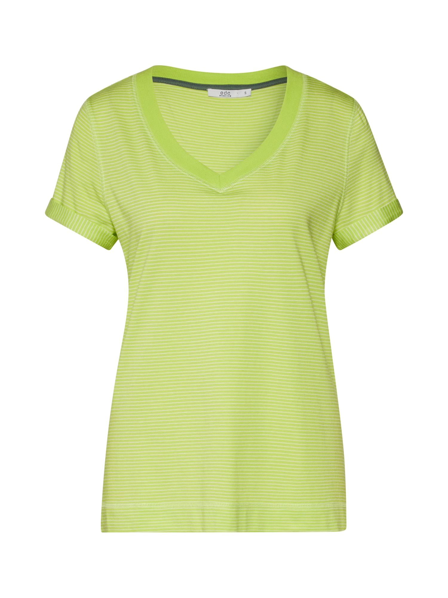 EDC BY ESPRIT Marškinėliai 'Slim Stripe Tee' citrinos spalva