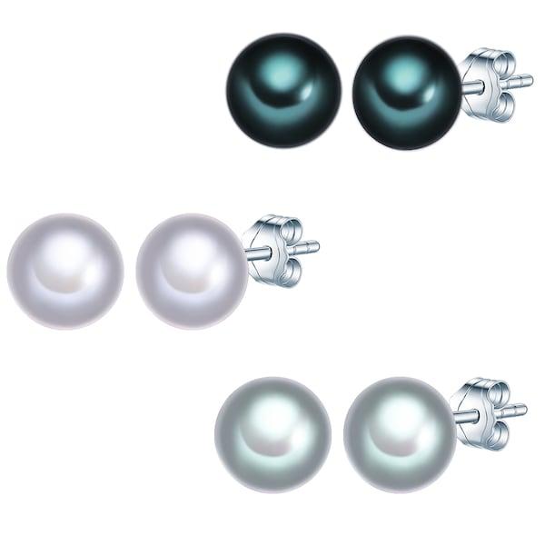 Ohrringe für Frauen - Valero Pearls Silber Ohrstecker mit Süßwasser Zuchtperlen 3er Set smaragd silber  - Onlineshop ABOUT YOU