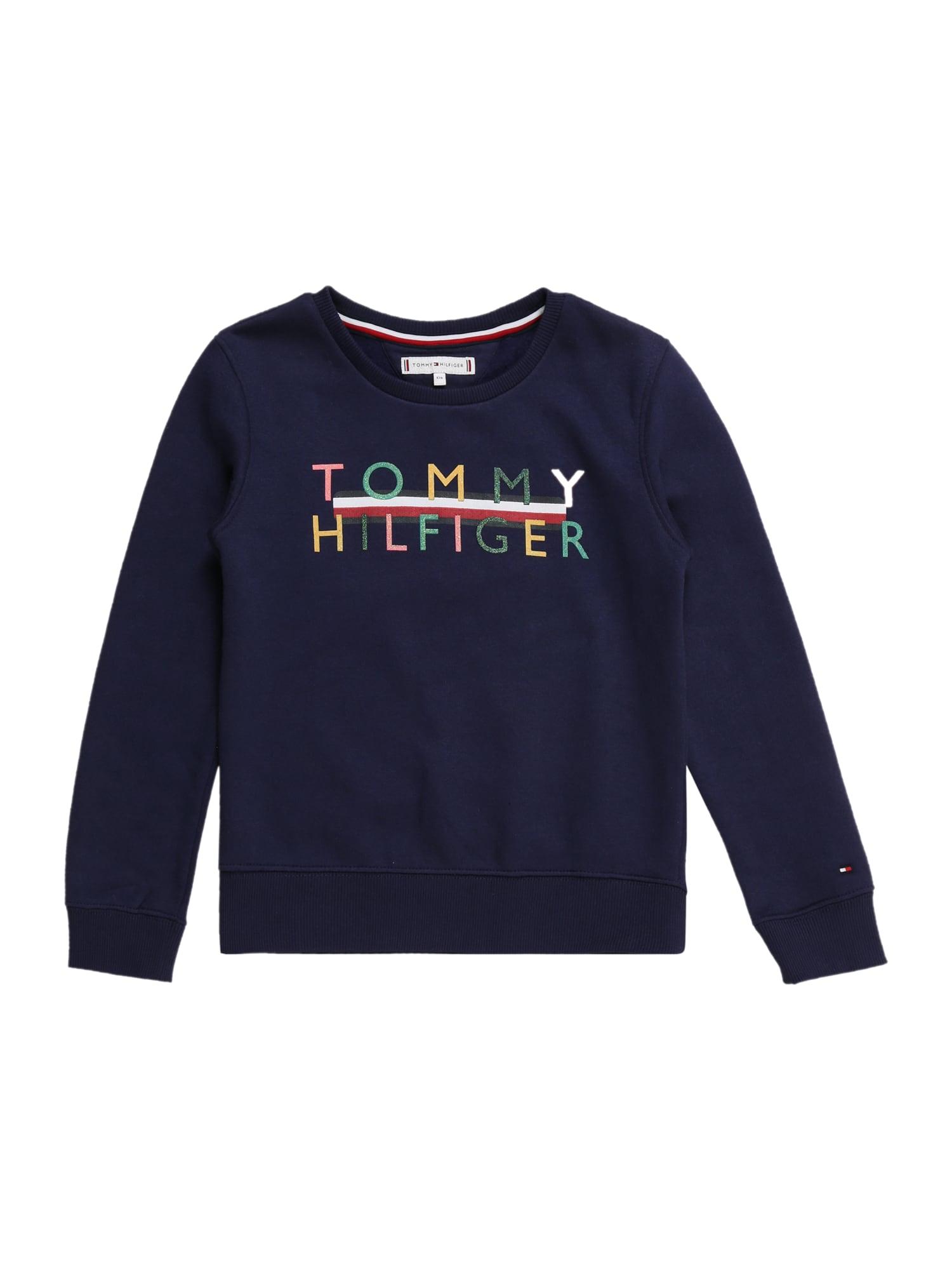TOMMY HILFIGER Megztinis be užsegimo nakties mėlyna