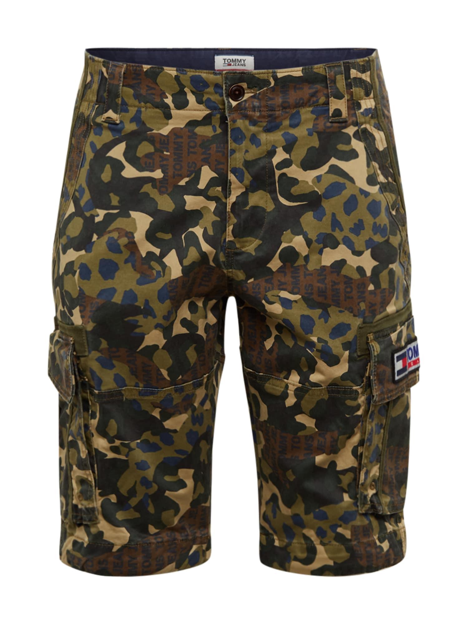 Tommy Jeans Laisvo stiliaus kelnės tamsiai žalia / ruda