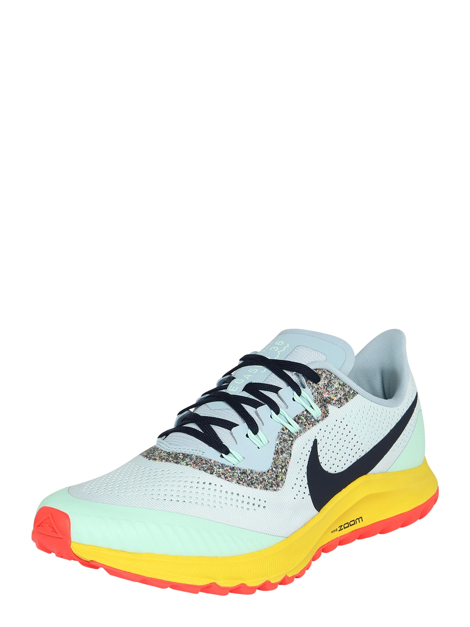 NIKE Bėgimo batai 'AIR ZOOM PEGASUS 36 TRAIL' juoda / šviesiai pilka / šviesiai mėlyna