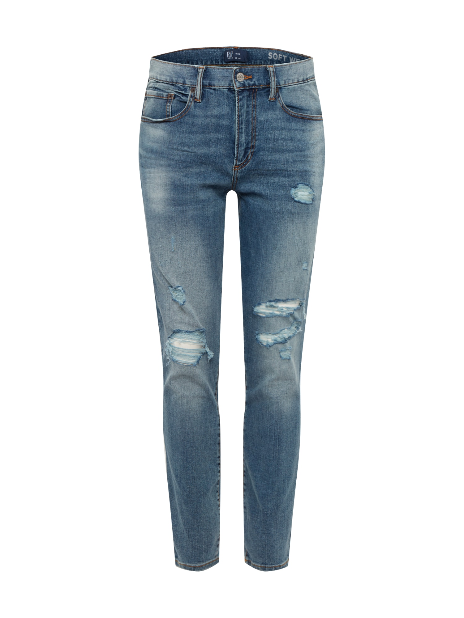 GAP Džinsai 'V-SKINNY WEARLIGHT SOFT MEDIUM DESTROY' tamsiai (džinso) mėlyna
