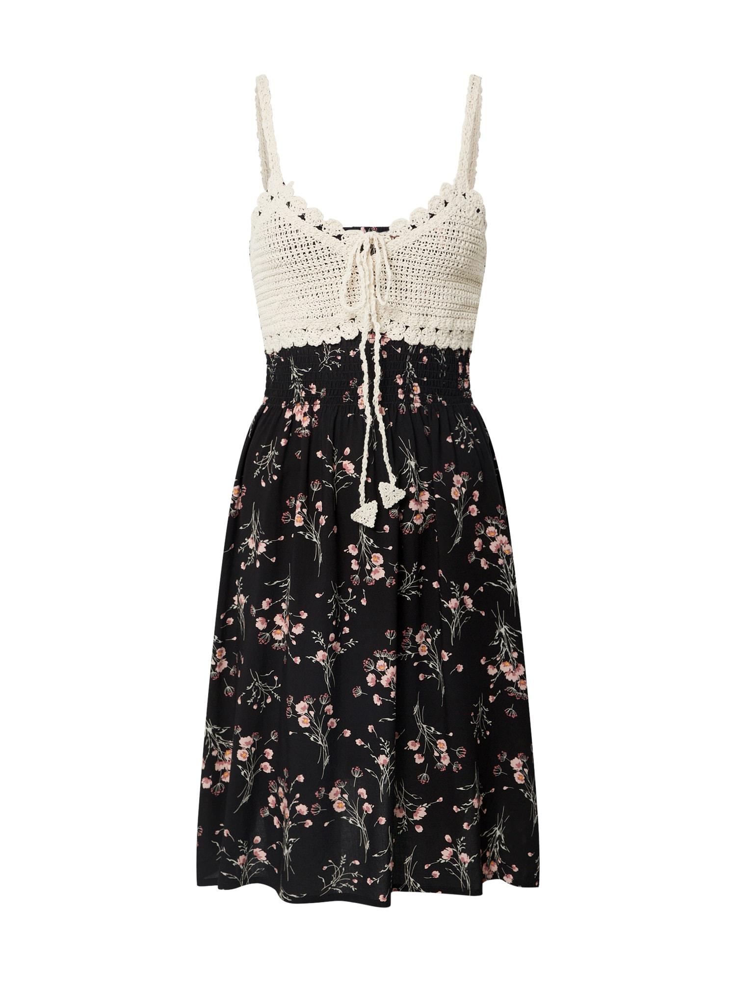 Hailys Letné šaty 'Kana'  čierna / krémová / ružová / kaki