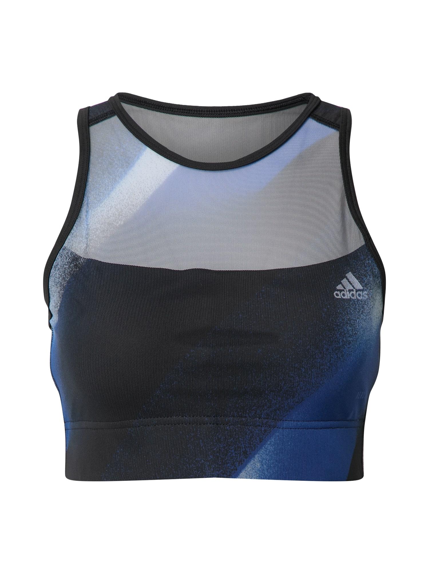 ADIDAS PERFORMANCE Sportinė liemenėlė balta / juoda / mėlyna / pilka