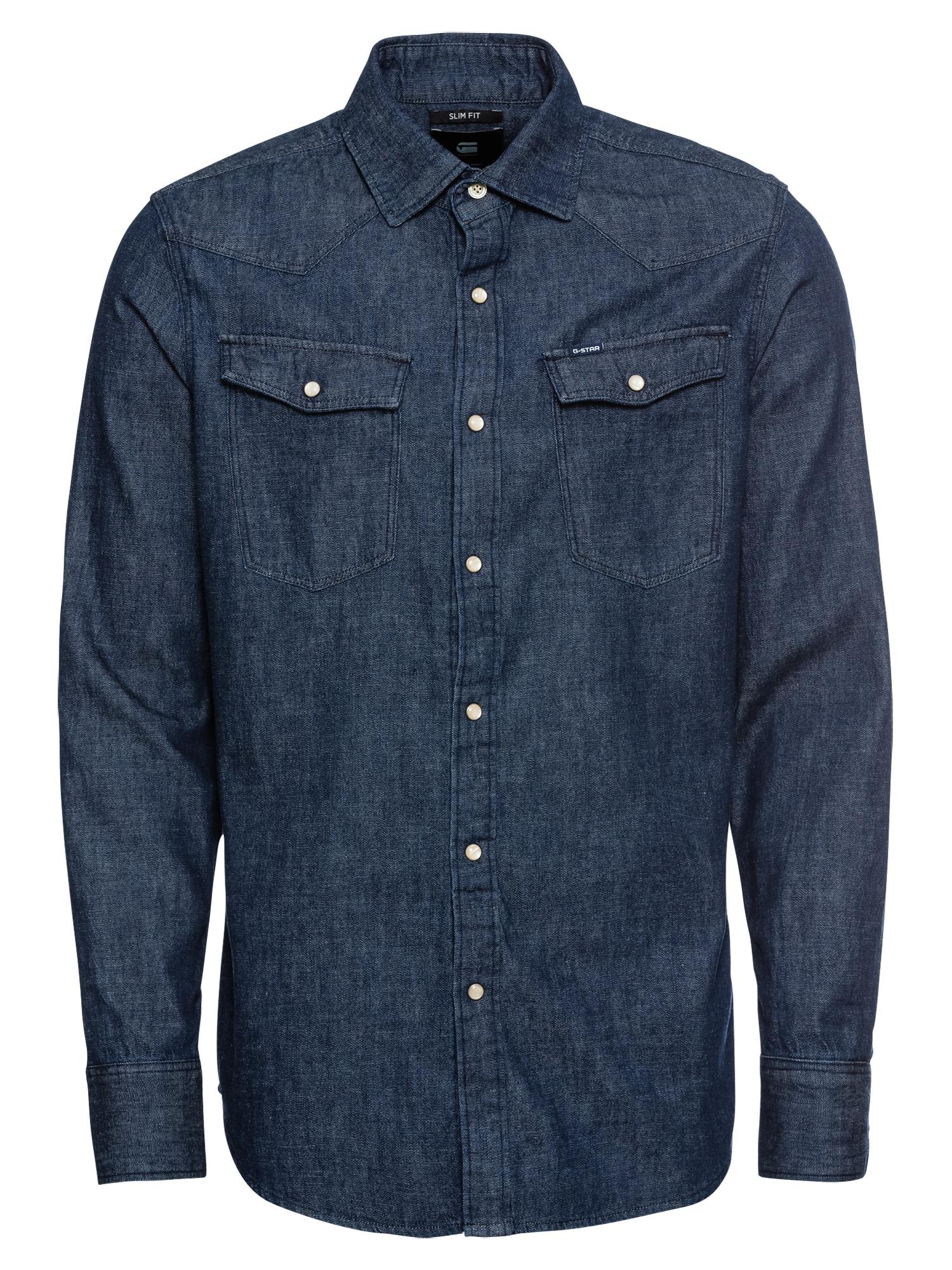 G-Star RAW Košeľa '3301 slim shirt l\s'  modrá denim