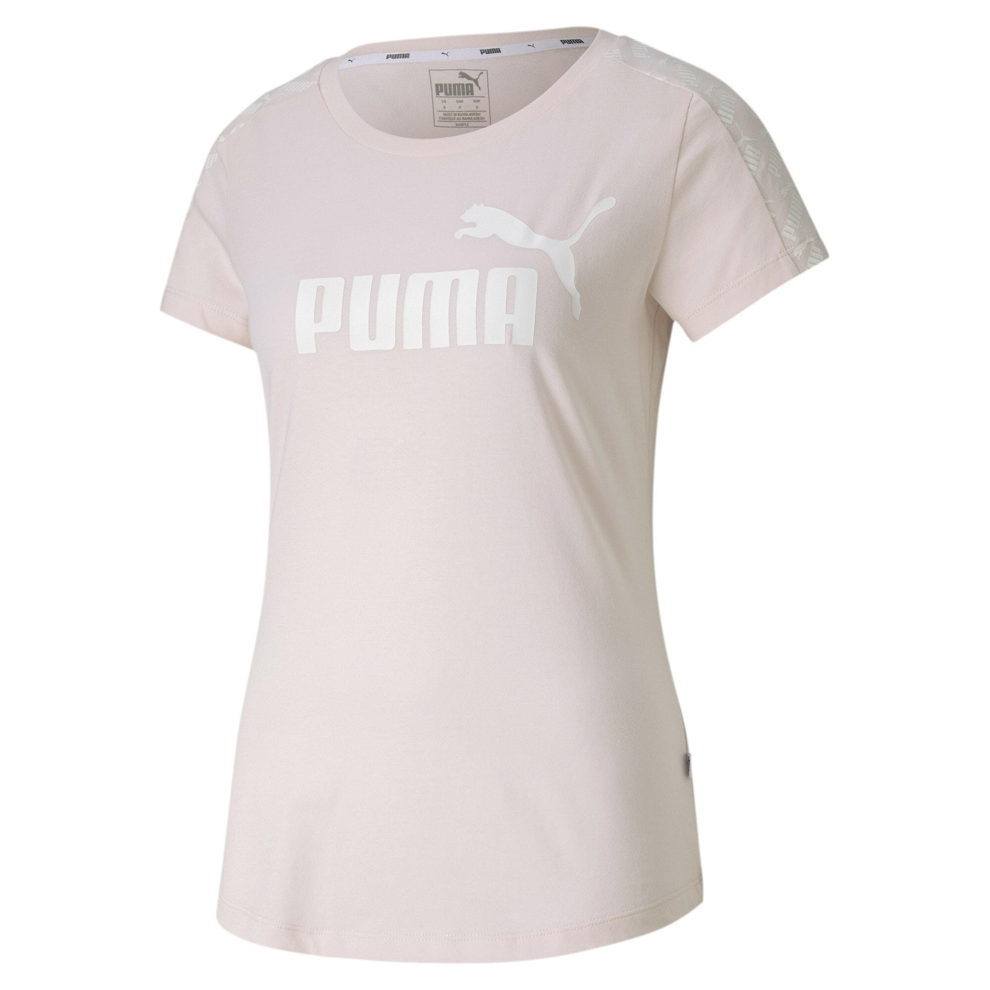 PUMA Sportiniai marškinėliai ryškiai rožinė spalva / balta