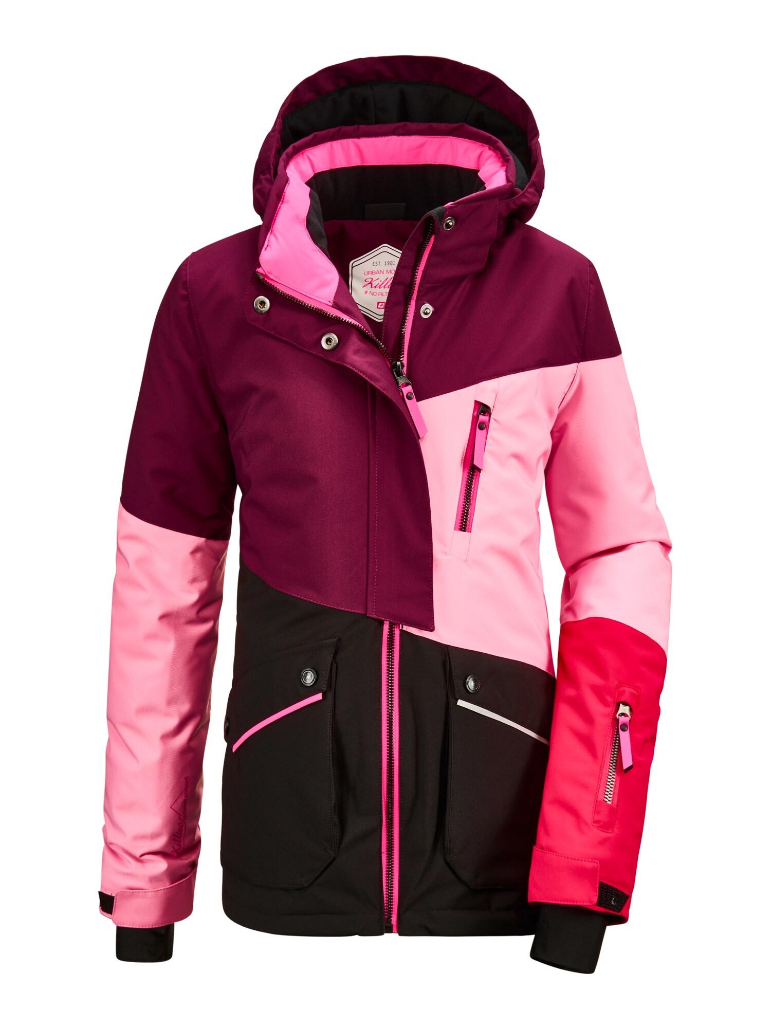 KILLTEC Laisvalaikio striukė 'Flumet' slyvų spalva / šviesiai rožinė / neoninė rožinė