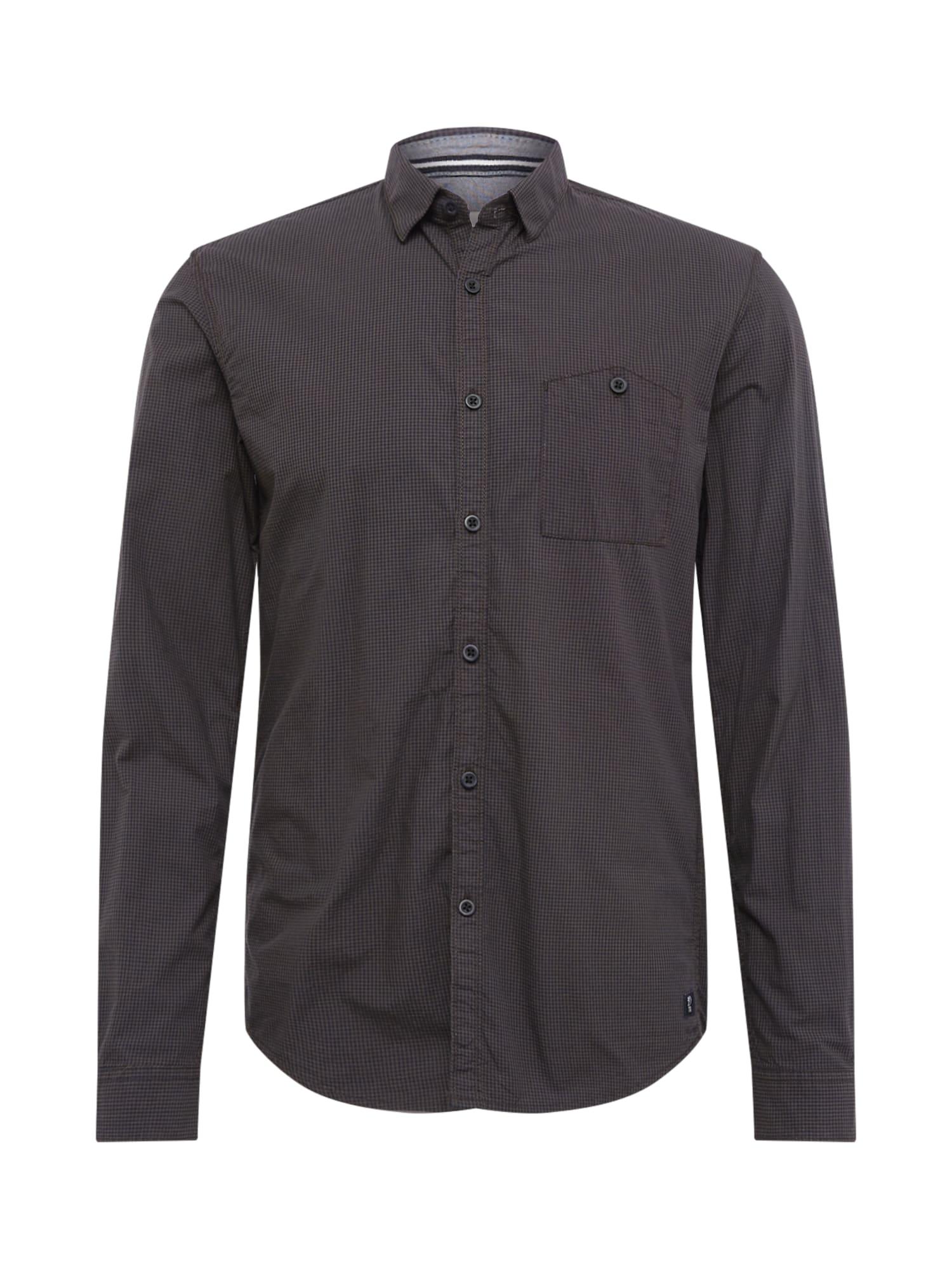 TOM TAILOR DENIM Biznis košeľa 'mini vichy shirt'  čierna / kaki