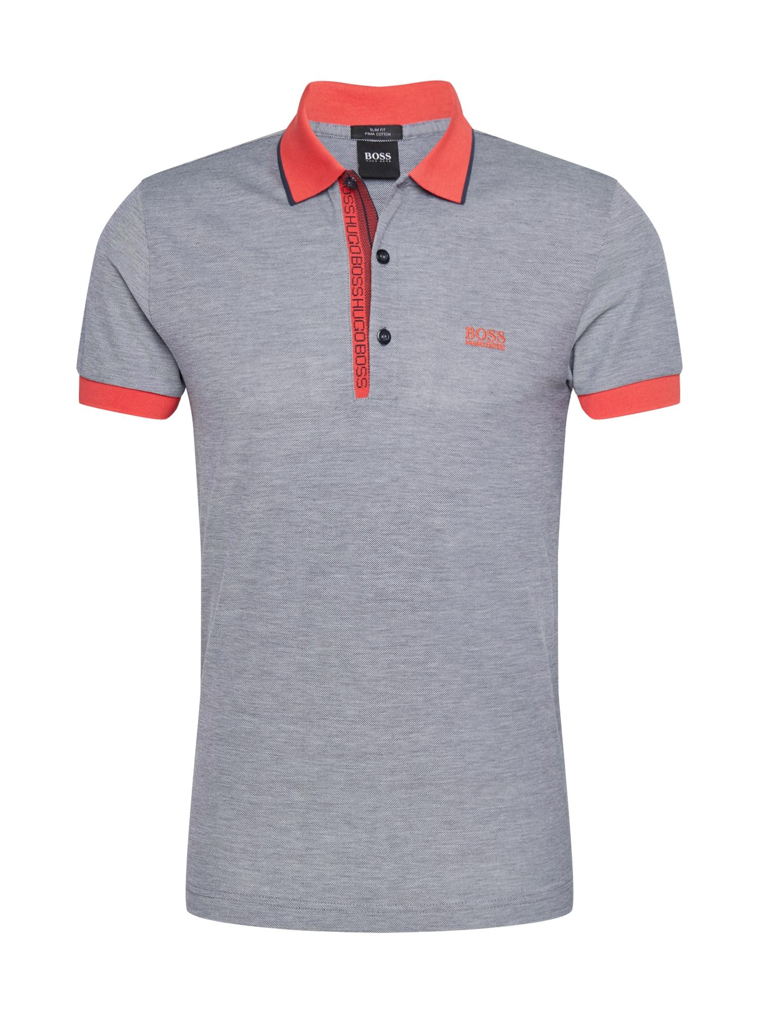 BOSS ATHLEISURE Marškinėliai 'Paule 4' margai pilka / ryškiai raudona