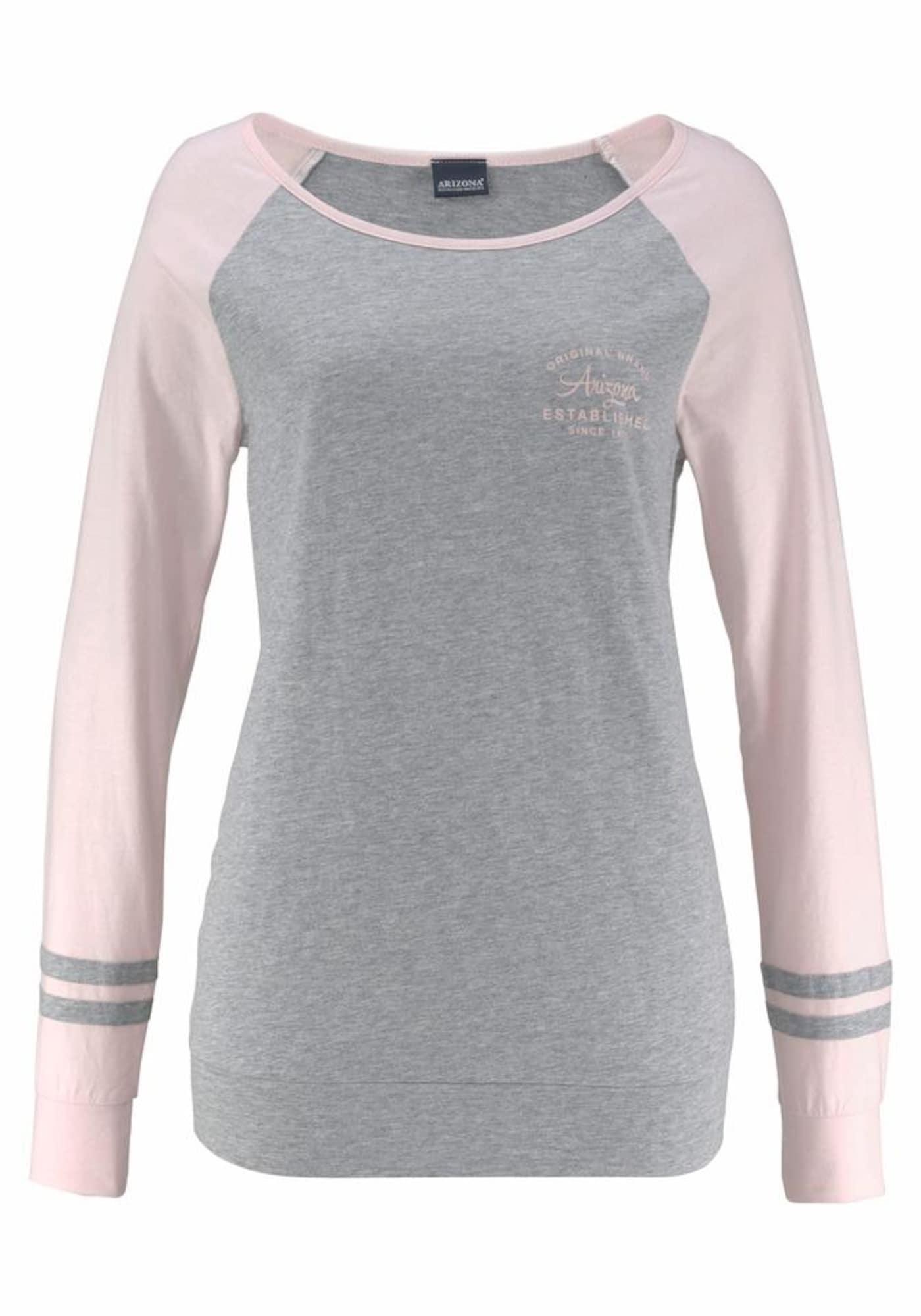 ARIZONA Pižama margai pilka / šviesiai rožinė