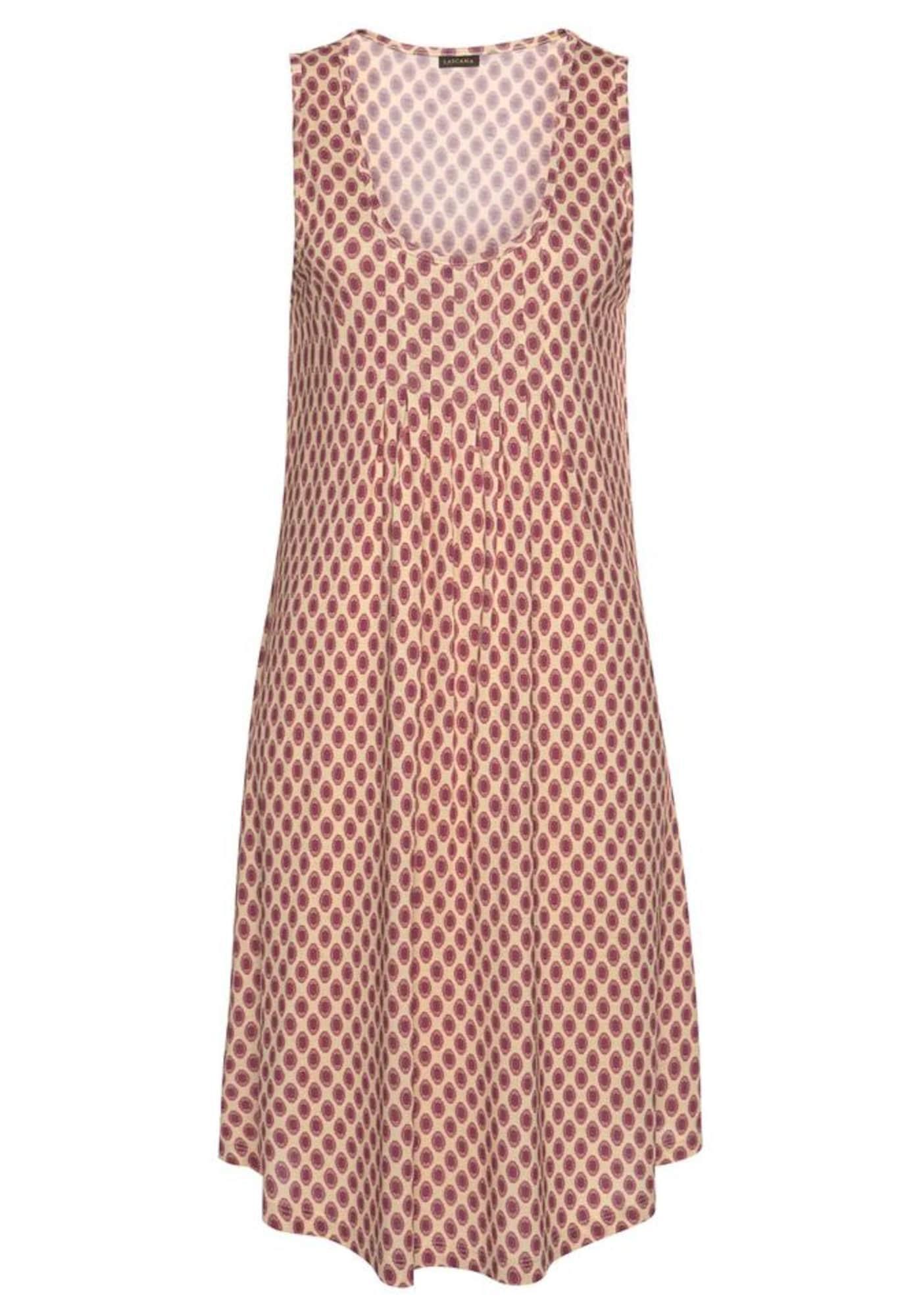 LASCANA Paplūdimio suknelė tamsiai smėlinė / karmino raudona