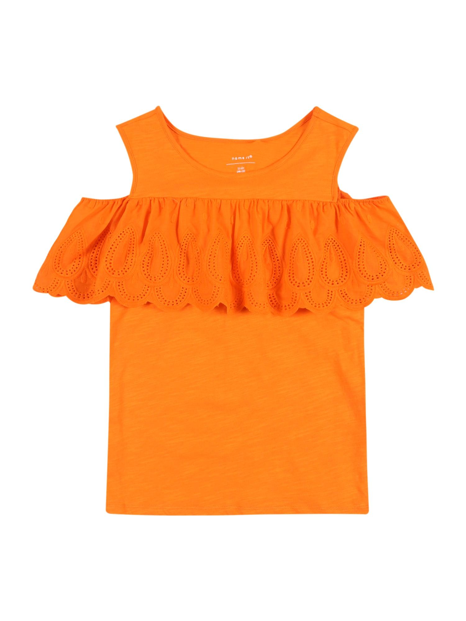 NAME IT Palaidinė be rankovių margai oranžinė