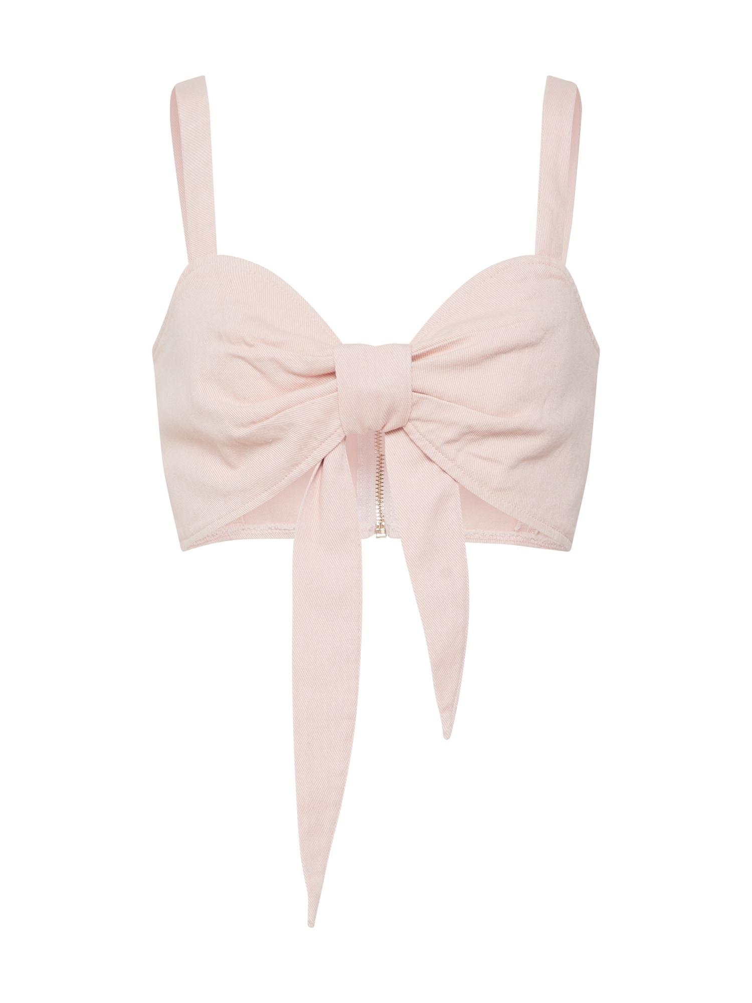 Missguided Palaidinė be rankovių 'Tie Front Co Ord Bralet Pink' rožinė