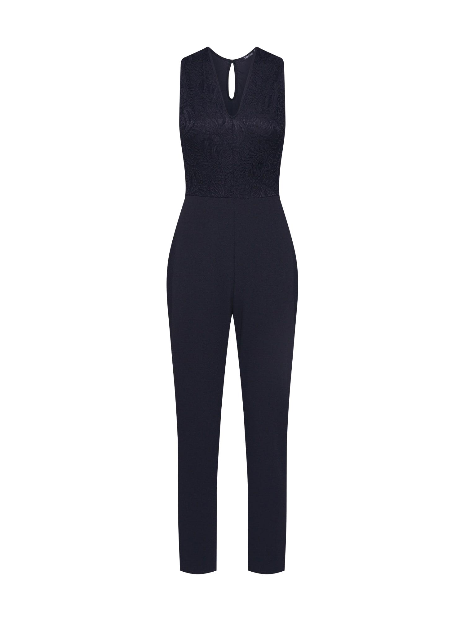 Boohoo Kombinezono tipo kostiumas 'Scallop Lace Plunge' juoda