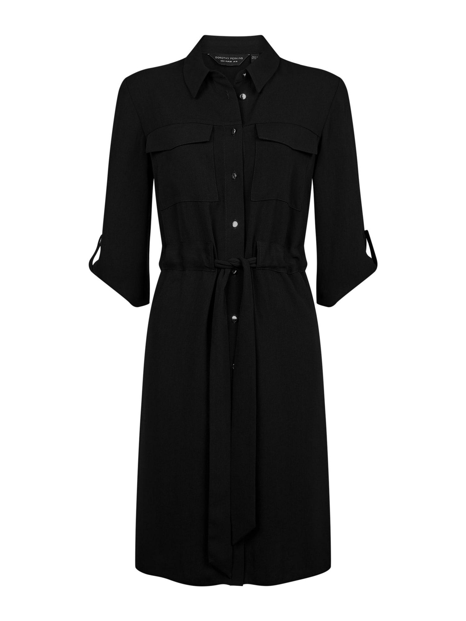 Dorothy Perkins Rochie tip bluză 'BLACK DRAWSTRING SHIRT DRESS'  negru