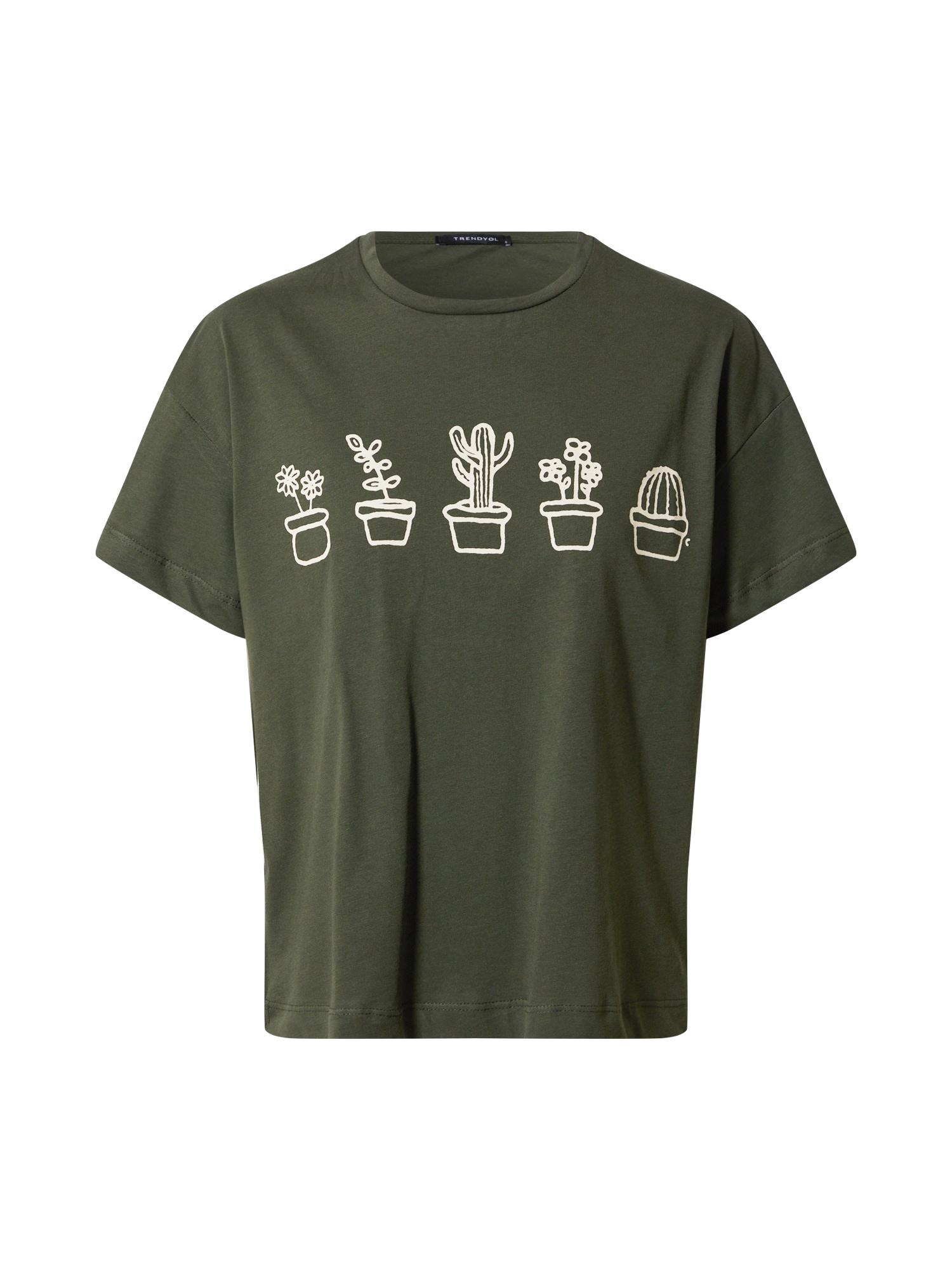 Trendyol Marškinėliai alyvuogių spalva / smėlio spalva